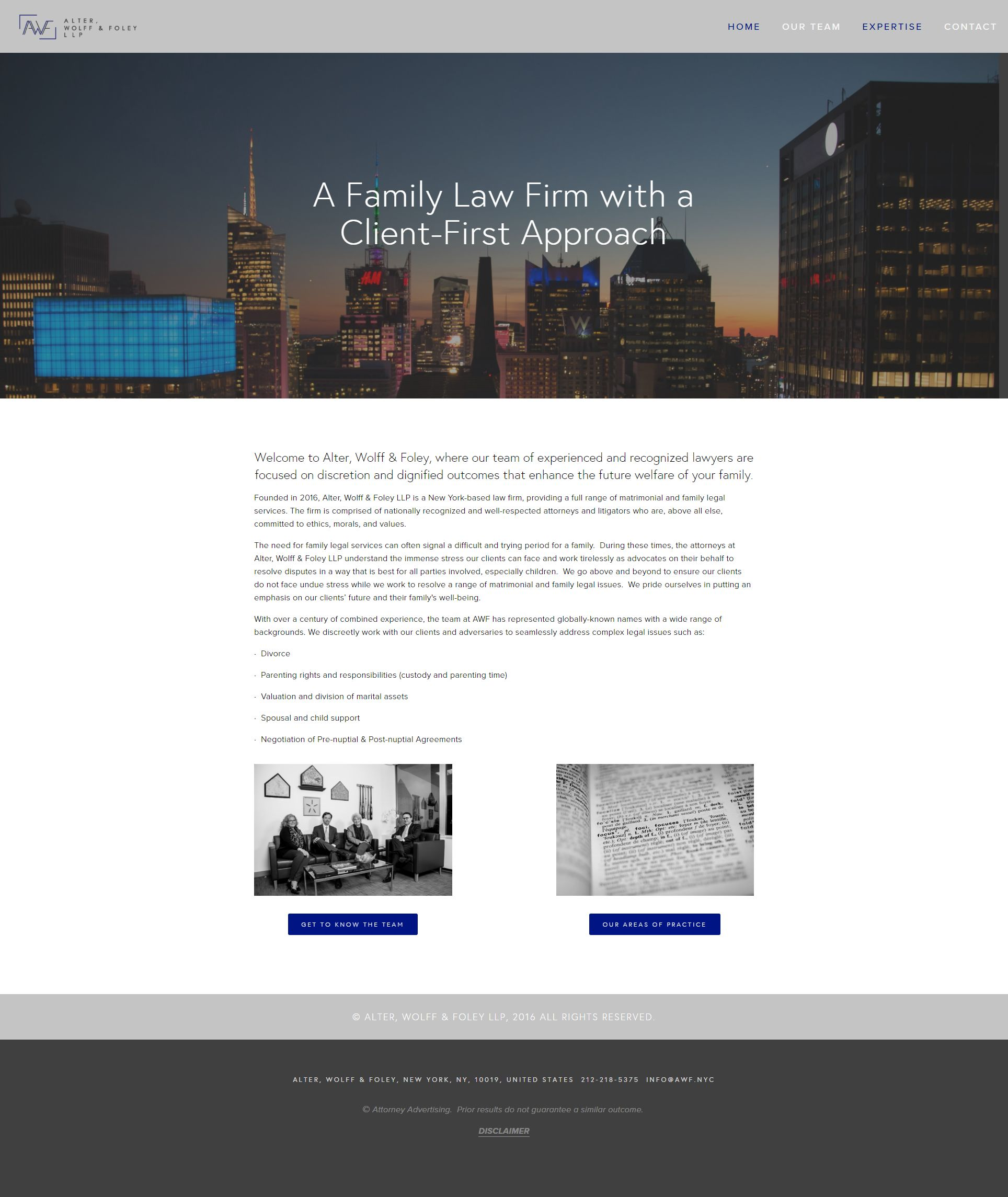 Newly formed NYC law firm specializing in family agreements.  www.awf.nyc