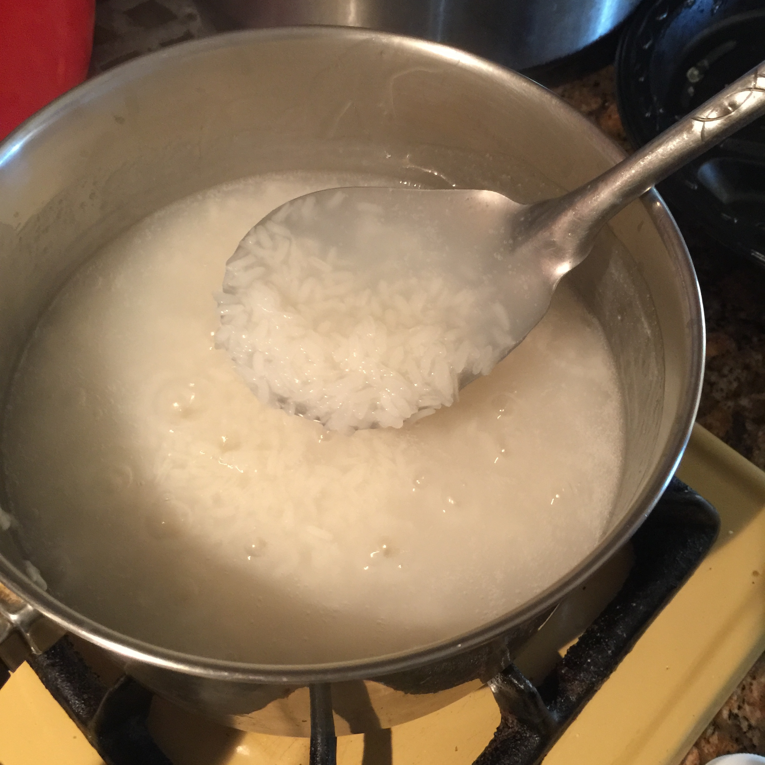 Photo 1: The rice consistency you want to achieve before adding your milk.