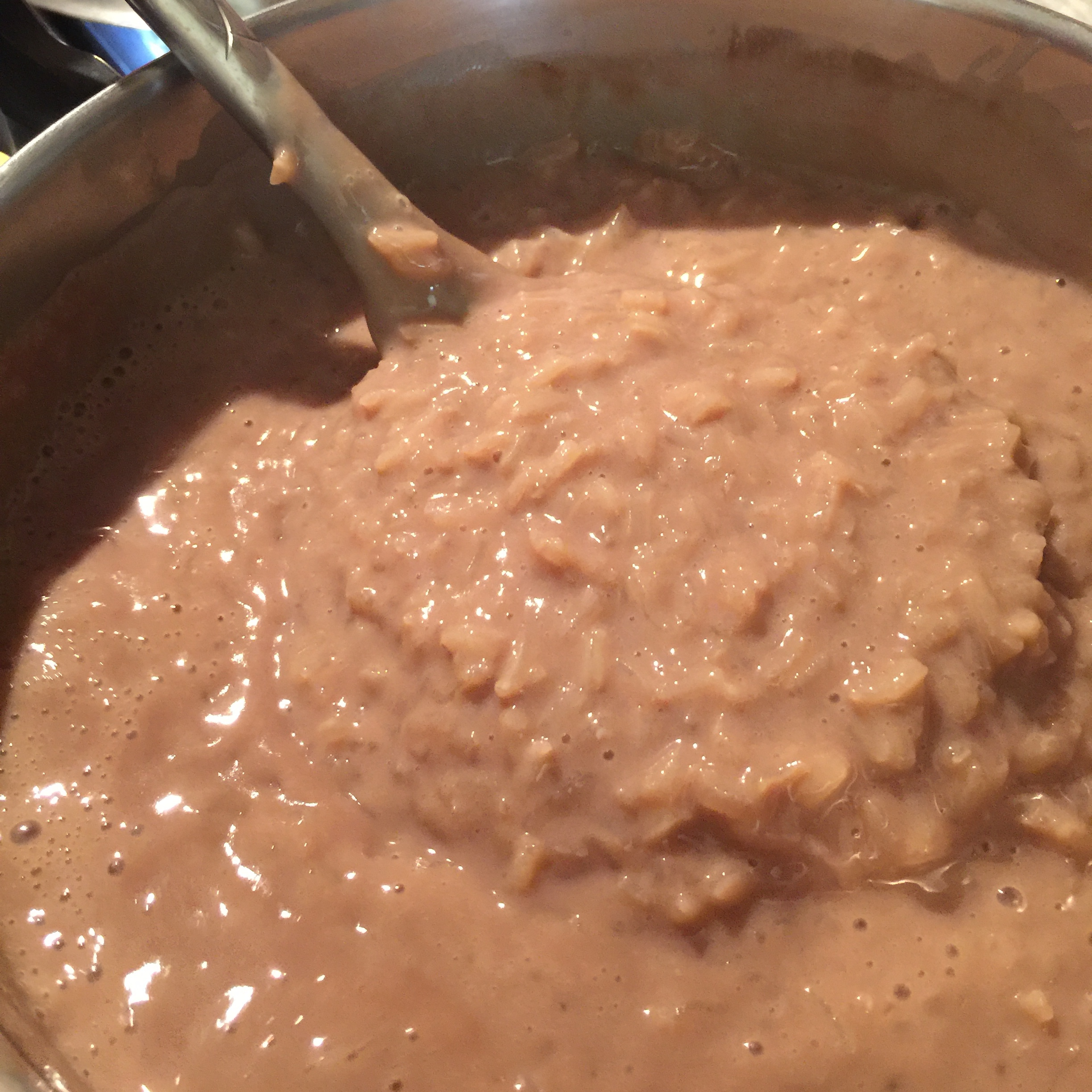 Photo 4: Fully prepared champorado. The rice grains will start to absorb the liquids at it sits.