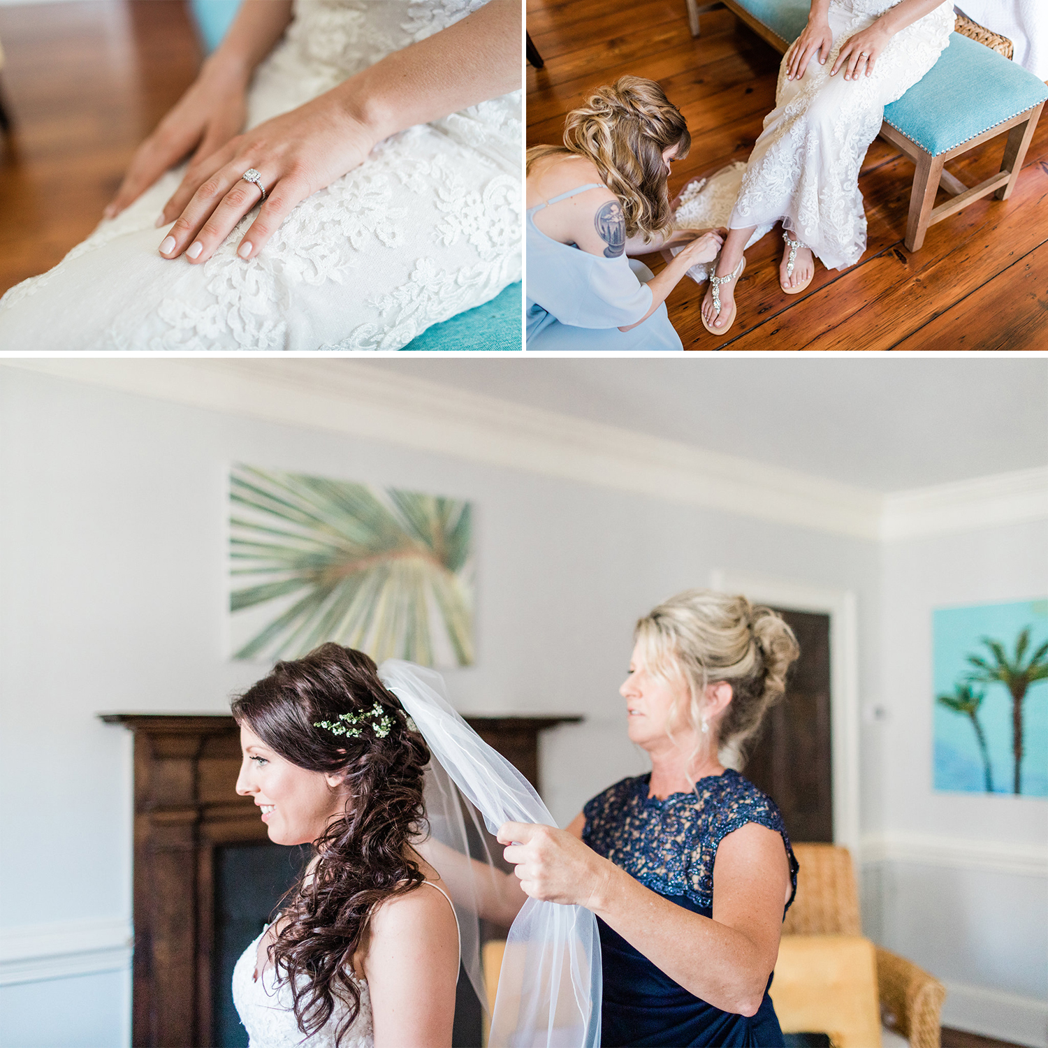 Michelle + Scott - Intimate Savannah Wedding at Soho South Cafe, lace wedding dress | Apt. B Photography