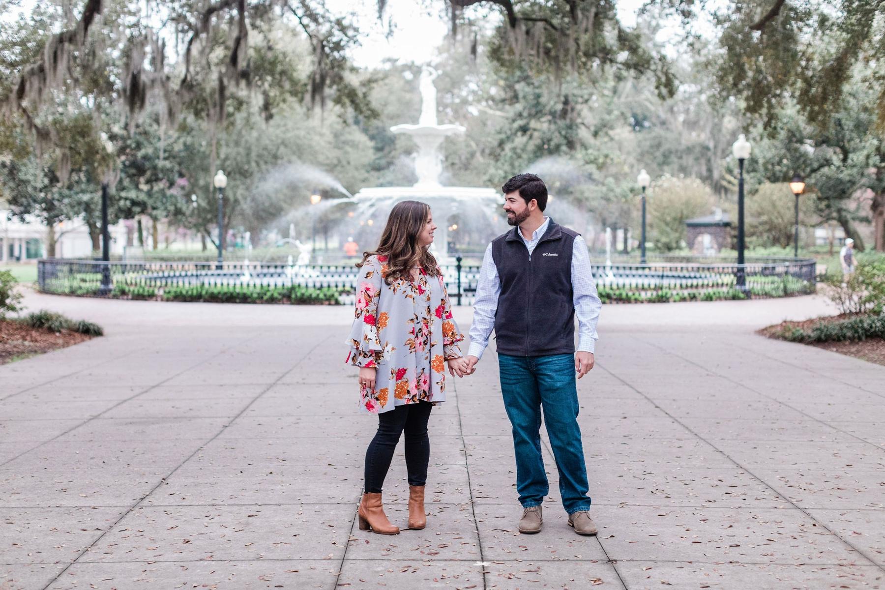 Travis + Abby's Surprise Forsyth Fountain Proposal - Savannah Proposal Photographer | Apt. B Photography
