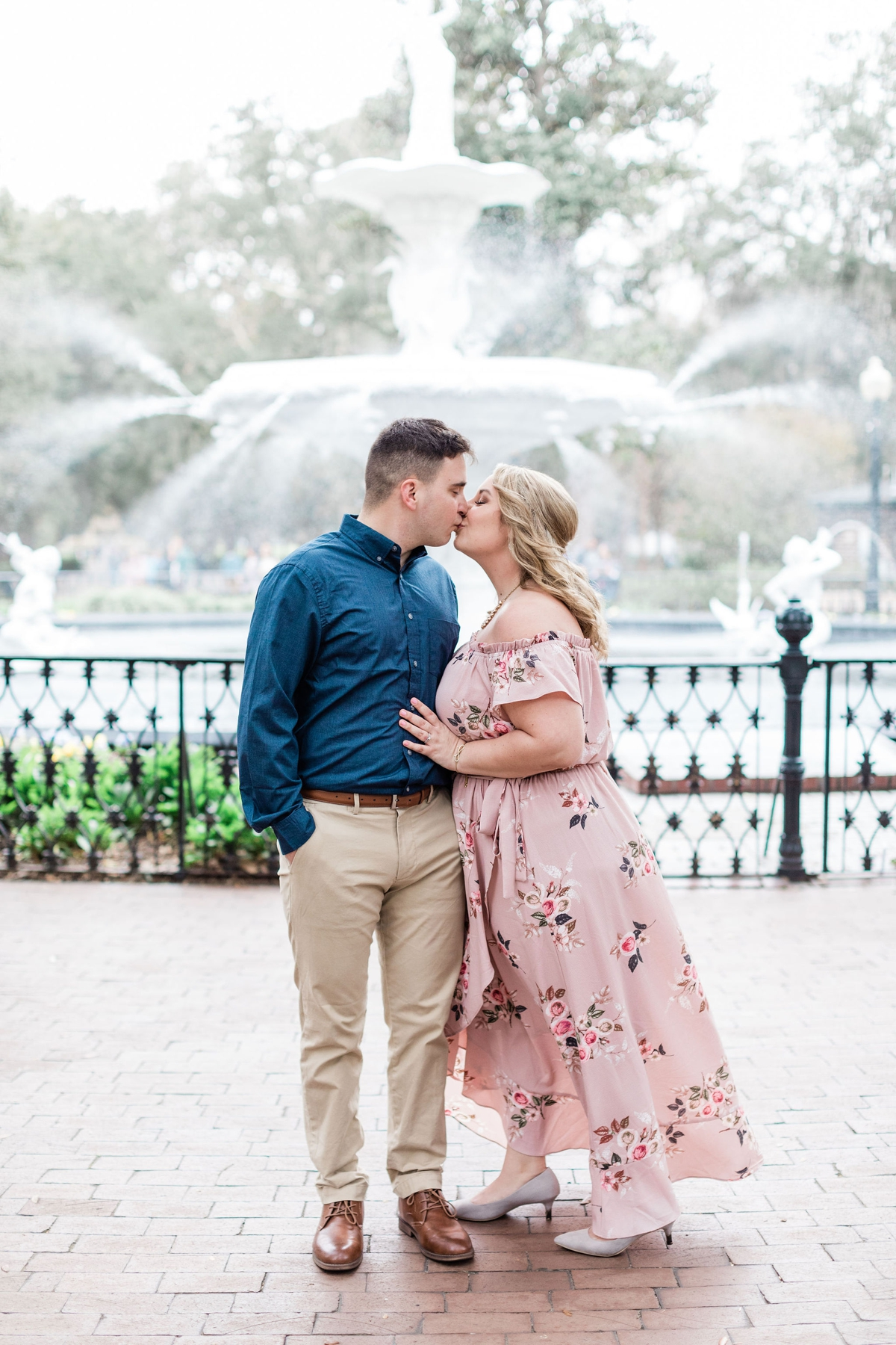 Alyssa and Carter's Savannah Downtown Engagement Session, blush floral dress   Apt B Photography