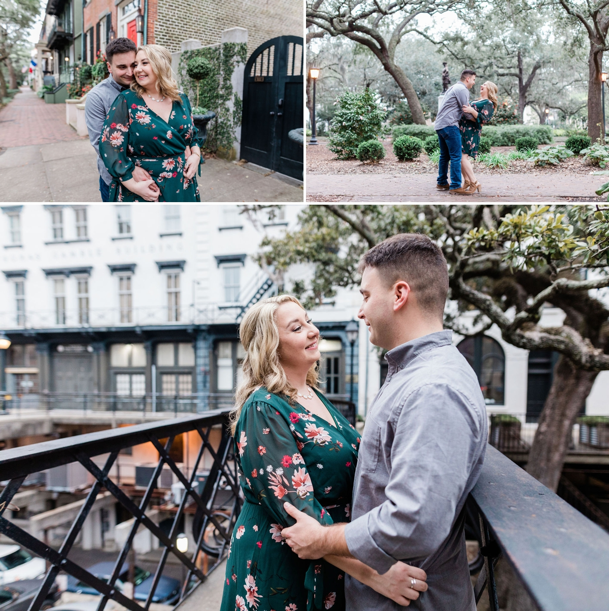 Alyssa and Carter's Savannah Downtown Engagement Session, green floral engagement dress   Apt B Photography