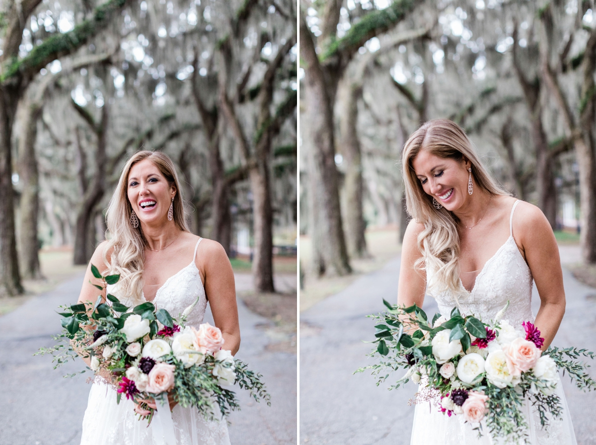 Bride wearing a lace wedding gown, with large blush bouquet - Intimate Savannah Elopement