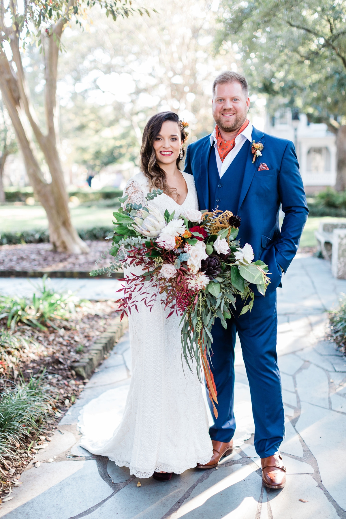 Large burgundy bohemian and natural bouquet by Ivory And Beau - Apt B Photography - Savannah wedding photographer