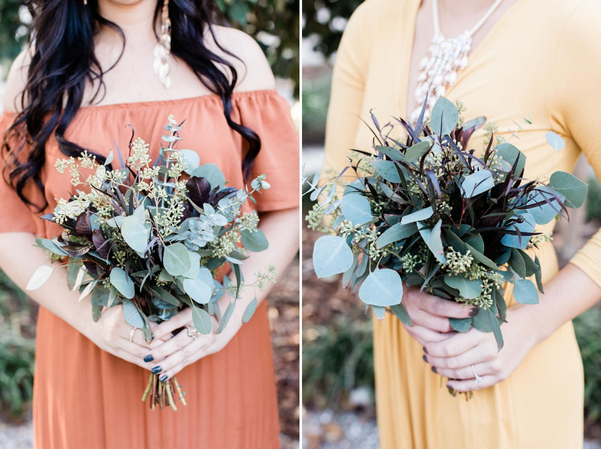 Fall boho mismatched bridesmaids with greenery bouquet - Savannah wedding photographer