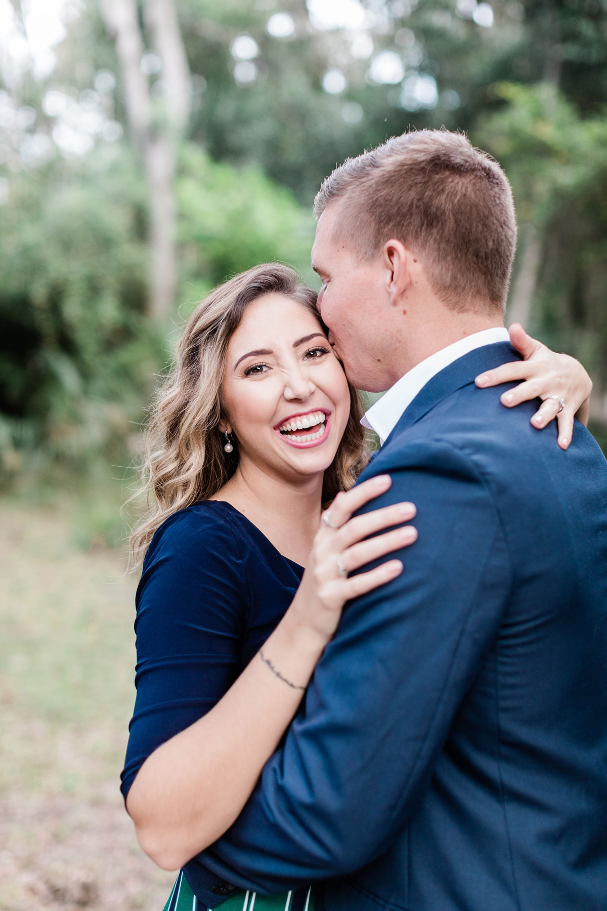 Green and blue engagement outfit at Wormsloe Engagement Session - Savannah Engagement Photographer