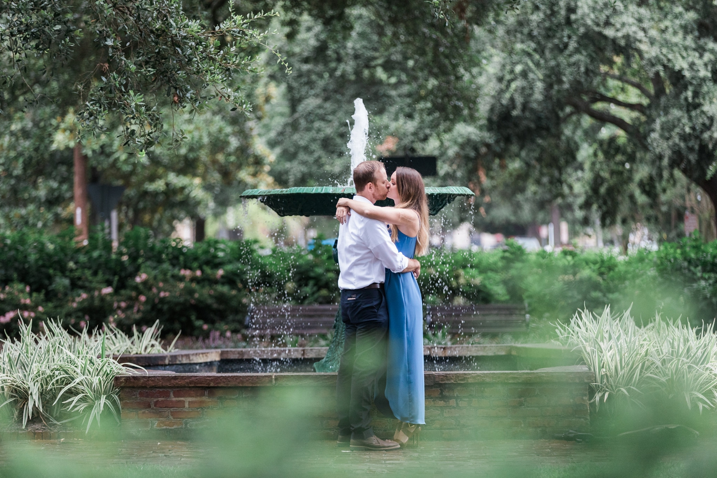 Lauren and Jacob's surprise proposal in Lafayette Square, Savannah, Georgia