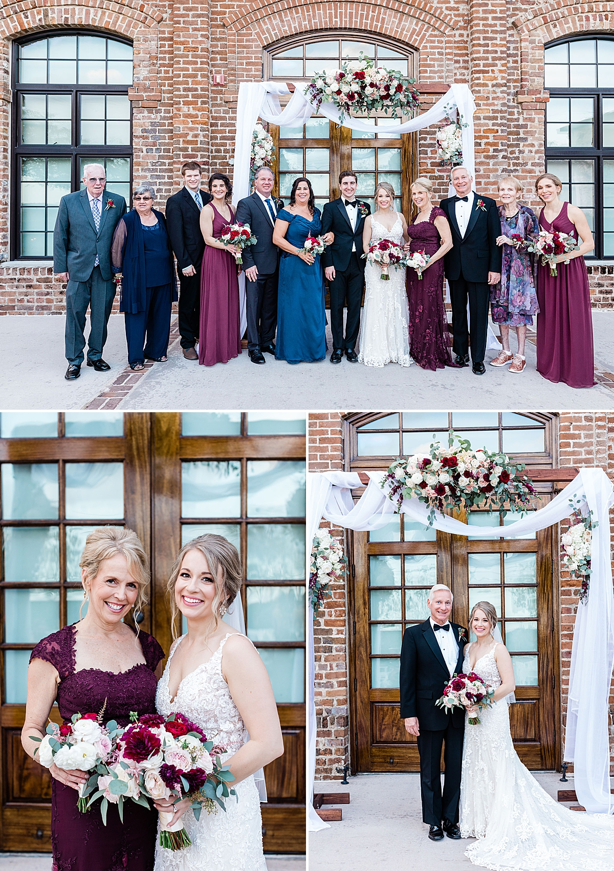 Family portraits for Kate and Anthony's Charles H Morris Center Wedding in Savannah
