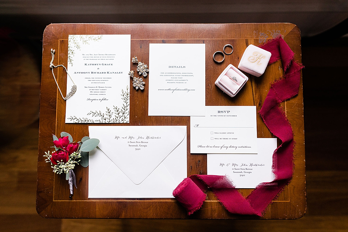 Invitation suite Kate and Anthony's Historic Savannah Wedding  Apt B Photography