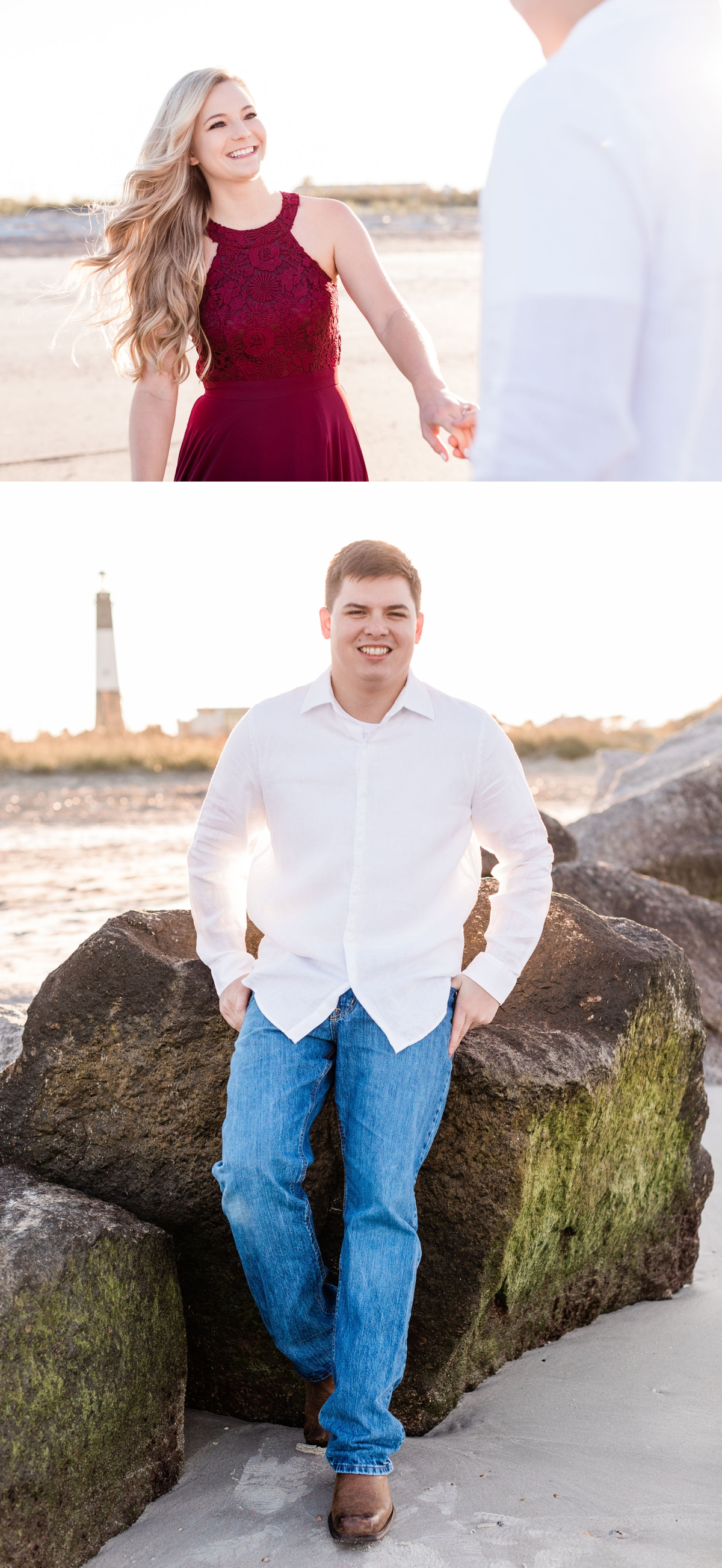 Savannah and Ty's Sunset Engagement Session on Tybee Island