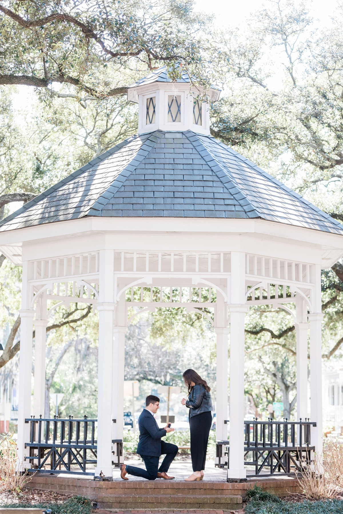 Sam and Paige's surprise proposal at Whitefield Square in Savannah, Georgia