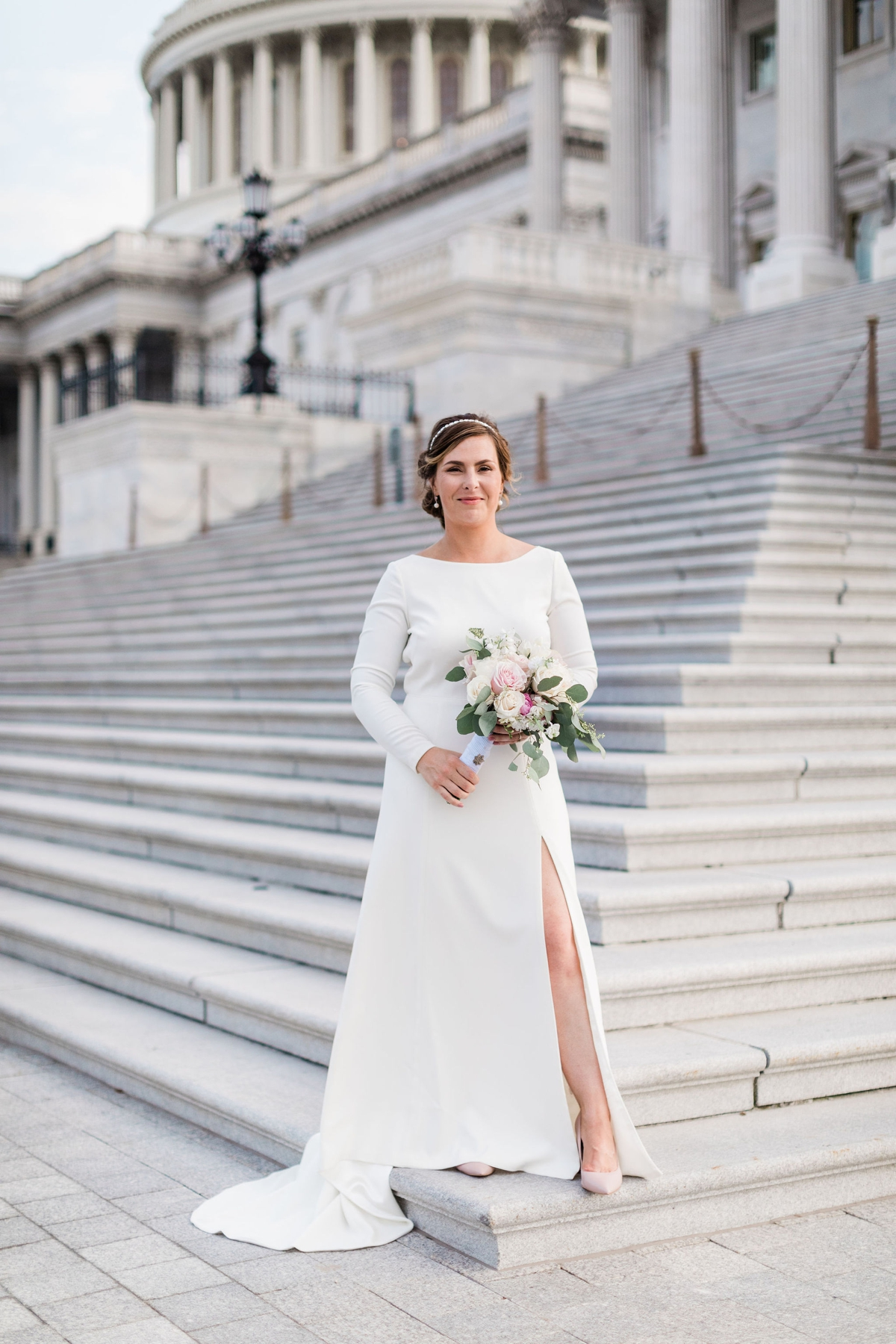 Bride in Amy Kuschel Redding Gown from BHLDN