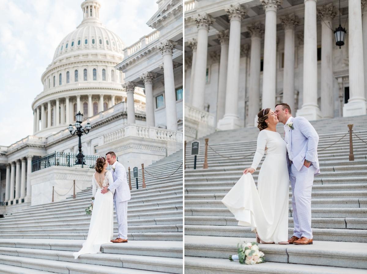 Bride in Amy Kuschel Redding Gown from BHLDN and groom in a Seersucker suit