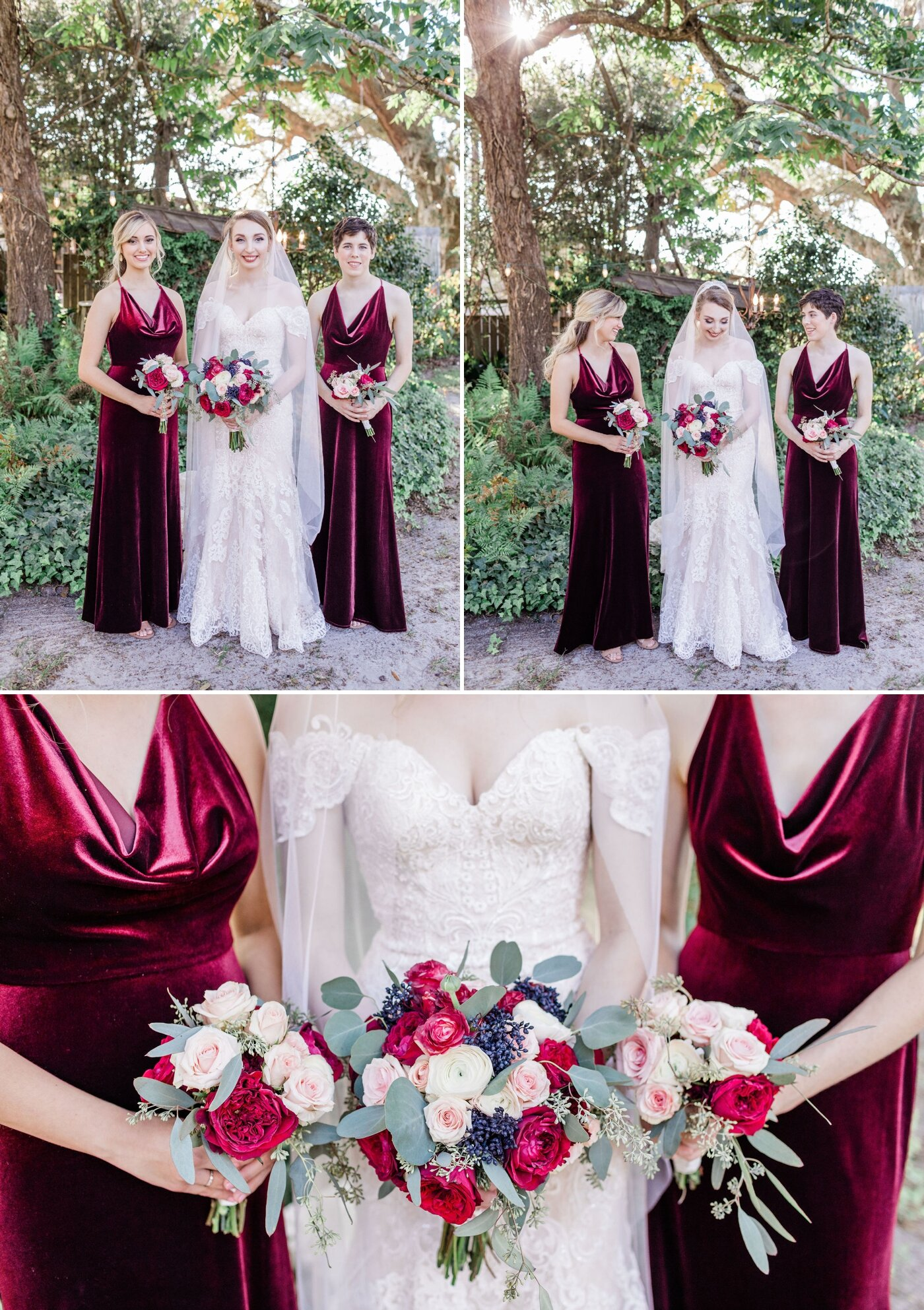 Bridesmaids in red velvet gowns | Apt. B Photography