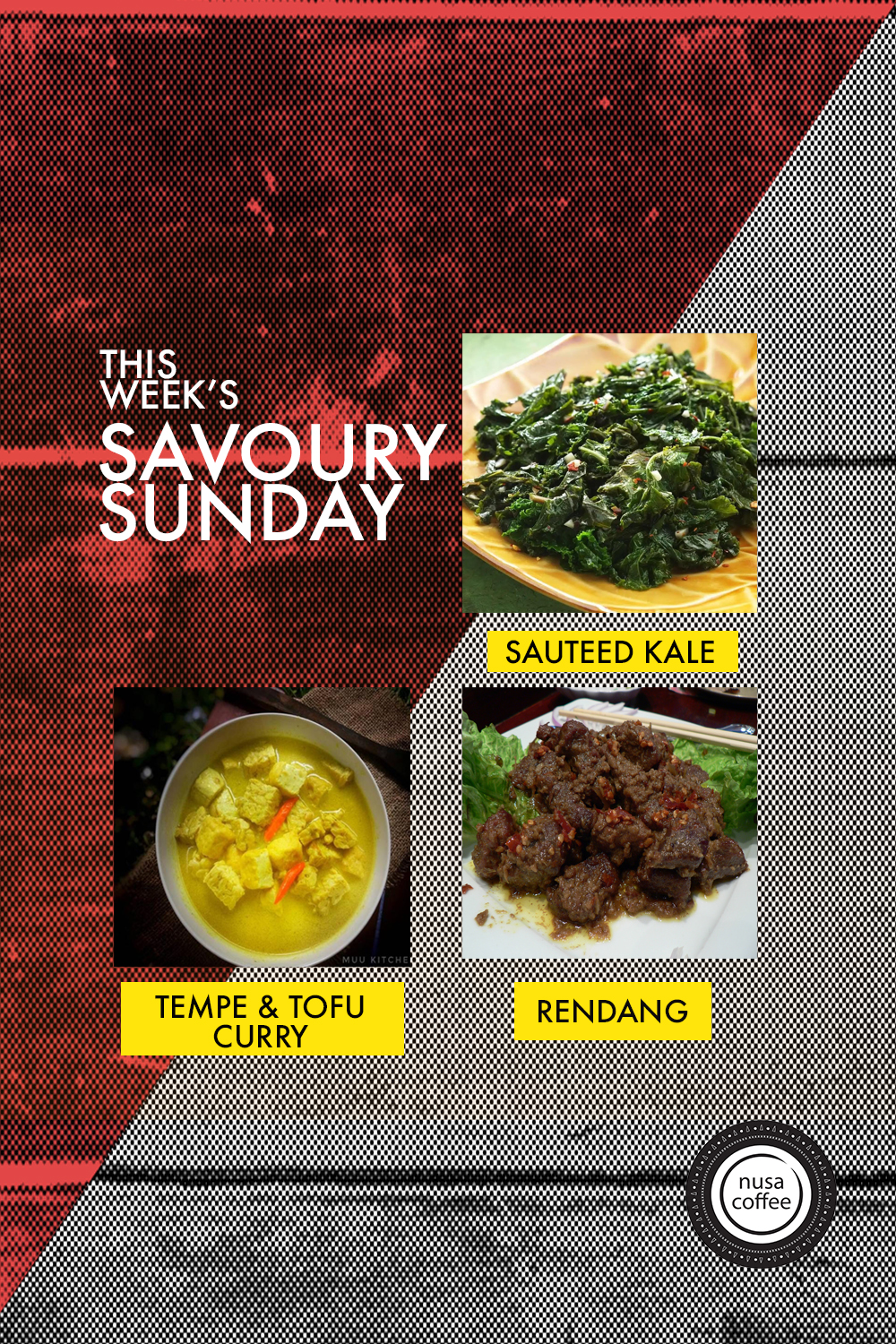 As part of our goal in promoting Indonesian cuisine, we are introducing a new weekly culinary experience called; Savoury Sundays. We will be serving a lunch box of different kinds of Indonesian dishes at Nusa Cafe every Sunday. This week's menu consist of Sauteed Kale, Rendang, and Tempe & Tofu Curry!  If you want to reserve this lunch set (due to limited quantity) just drop an email to omar@nusacoffeecompany.com with your name and quantity.