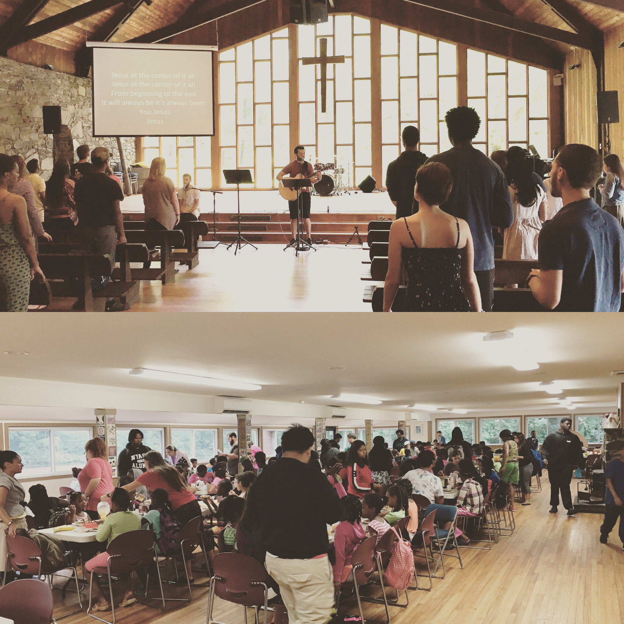 Chapel service for the 80+ works serving the kids at camp and breakfast time for the campers