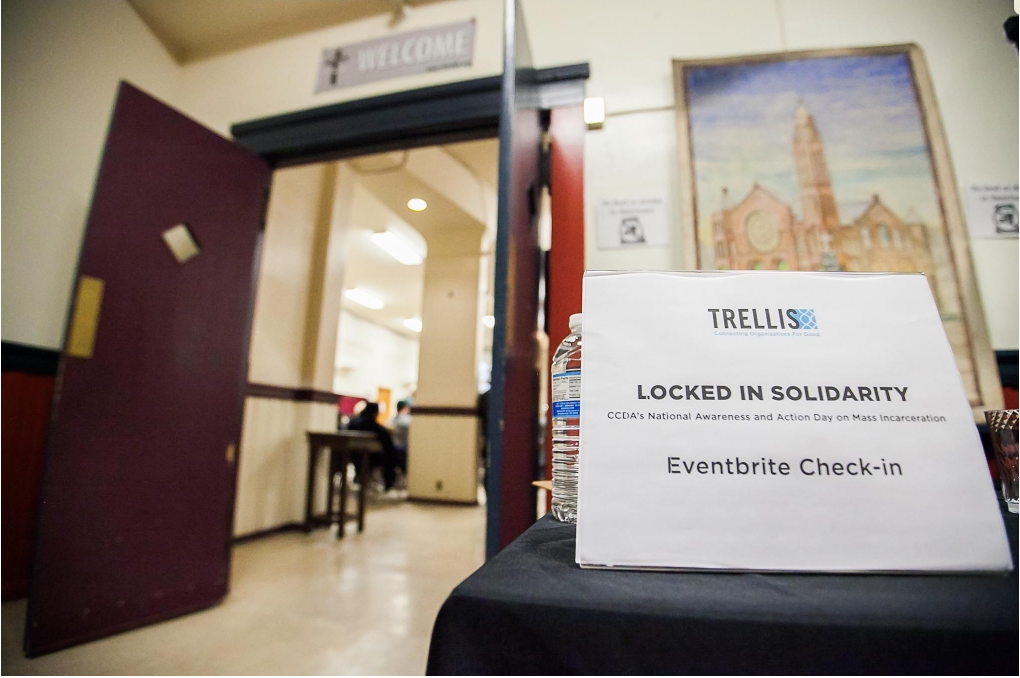 in 2017 Trellis was glad to partner with CCDA's annual  Locked in Solidarity , a day of awareness and action around Mass Incarceration.  Watch for more information soon about the 2018 event  Picture and write up courtesy of  Landshaw Photography