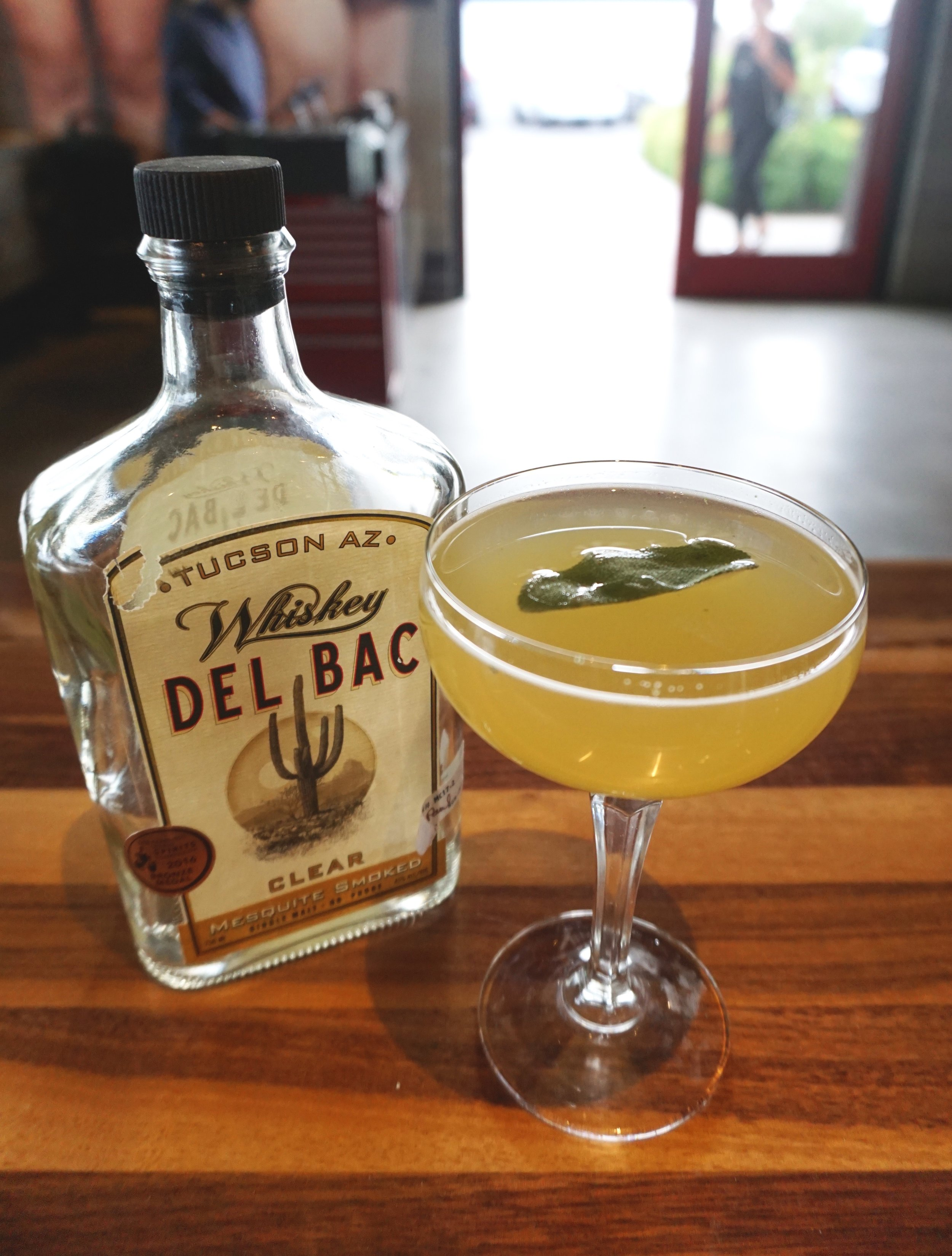 The Spirited    Sage - 1.5 Oz Whiskey Del Bac- Clear2 Muddled Sage Leaves.75 Oz Fresh Lemon Juice.5 Oz Honey Syrup.5 Oz Licor 43.25 Oz Green Chartreuse