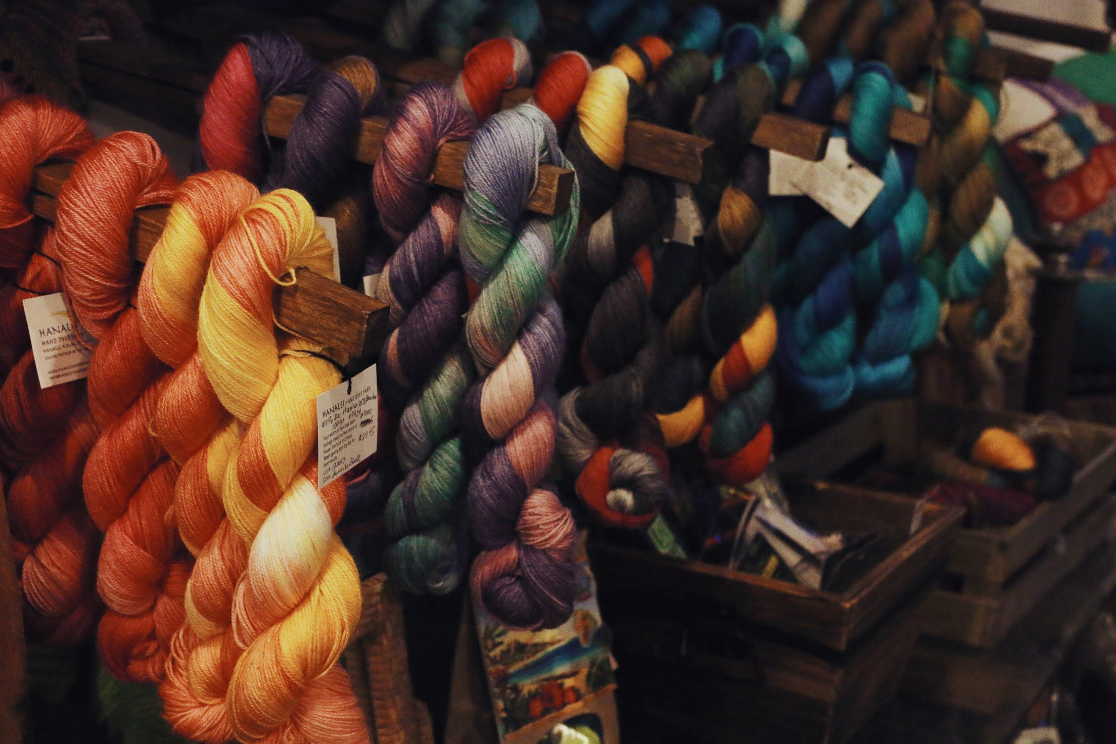 Hanalei Hand Dyed Yarn - Locally dyed yarns, in an assortment of colors all inspired by the Kauai's natural beauty… We are the only yarn shop on the island!