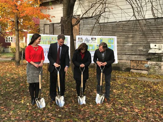 Mayor Joe Hogsett breaks ground on the Teacher's Village. Photo: Kaitlin Lange/Indy Star