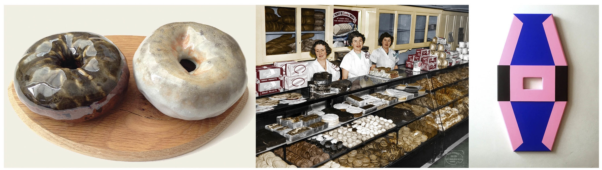 "Left to Right: Cary Lin,  Donuts 2 Dollars ; Maine Historical Society and the artist Patty Allison  ""Donuts & Treats, Cushman's Bakery, Portland, ca. 1940"" ; and Jon Merritt,  Crystalline Passage ."