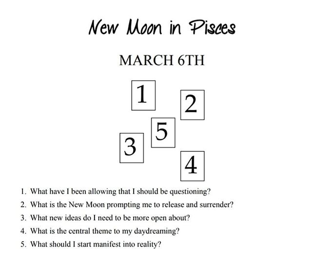 Happy New Moon in Pisces loves!  This New Moon in Pisces is the time to tap into your inner emotional well and  identify what affects your energy levels.  Looking back, what do you find that depletes  you? What has you so incredibly full that you are itching to turn it into a reality?  With the New Moon all about fresh starts, you can begin to tend to those long fes- tering wounds that have been keeping you small and emotional.  It is the time to purify,  to release, so that those depleting situations or behaviors don't continue with you into  the growing moon phase.  Spend time today looking within, honoring all that you have and all those things  that are no longer serving you.  As always, I'd love to see your tarot readings with this spread! Tag me in your posts and stories! #sacredpause #tarotspread #tarot #newmooninpisces #newmoon #tarotreading #NYEDTJ
