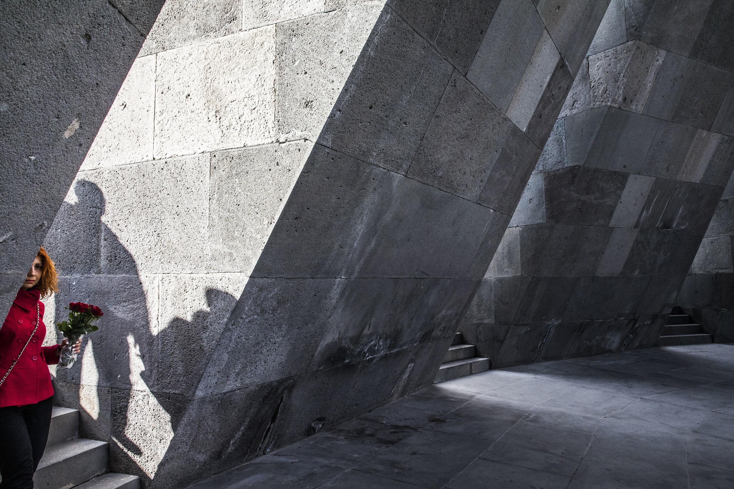 Armenian genocide centennial at Tsitsernakaberd memorial complex in Yerevan, Armenia. April 22, 2015