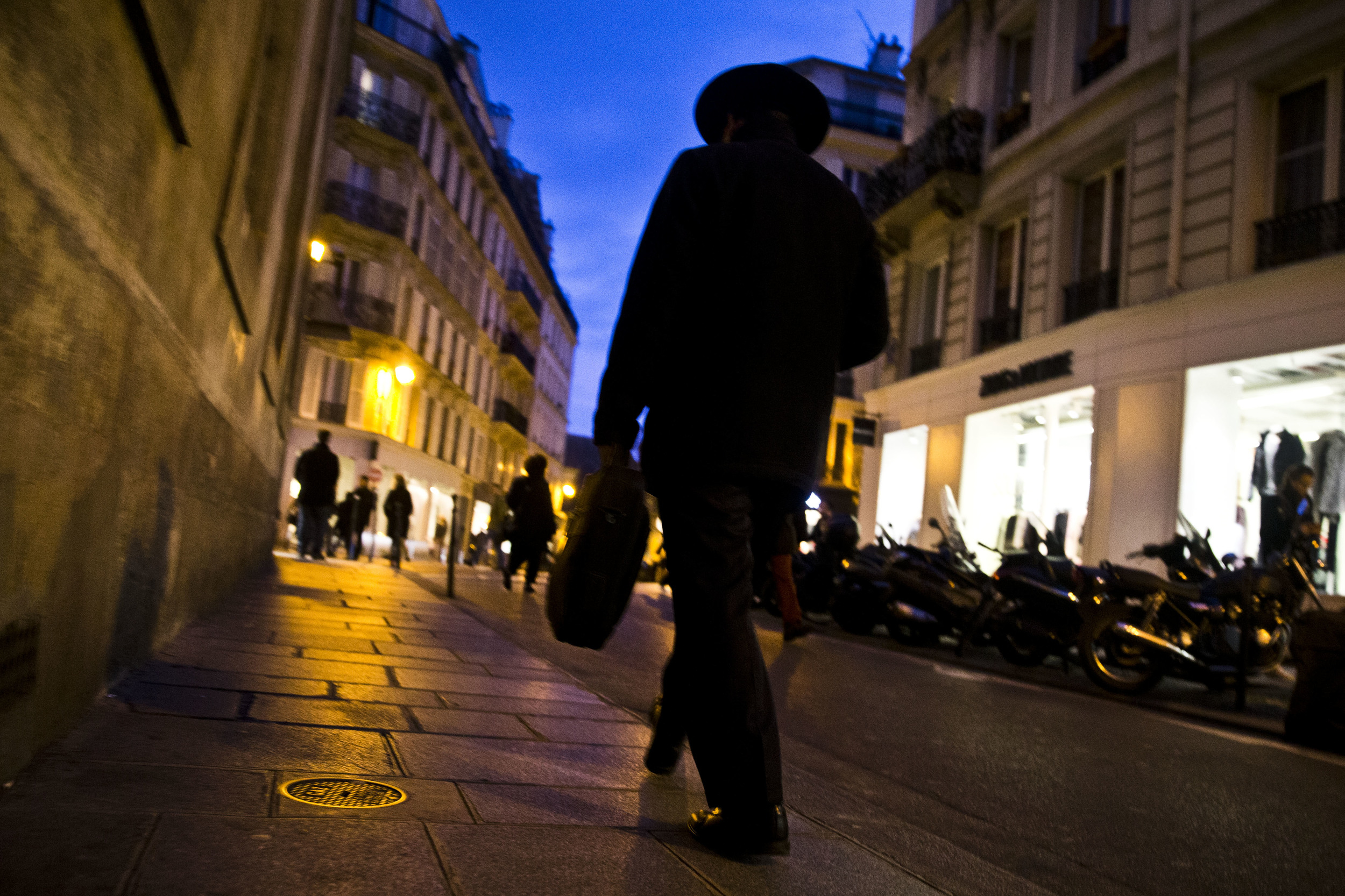 An orthodox jew walks in Paris district Marais that was taken under guard after Charlie Hebdo shooting. January 12, 2015