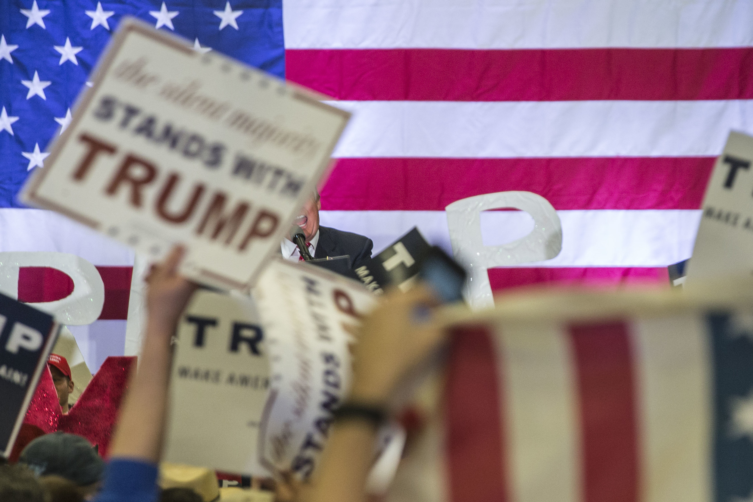 Donald Trump speaks at a rally in New Orleans