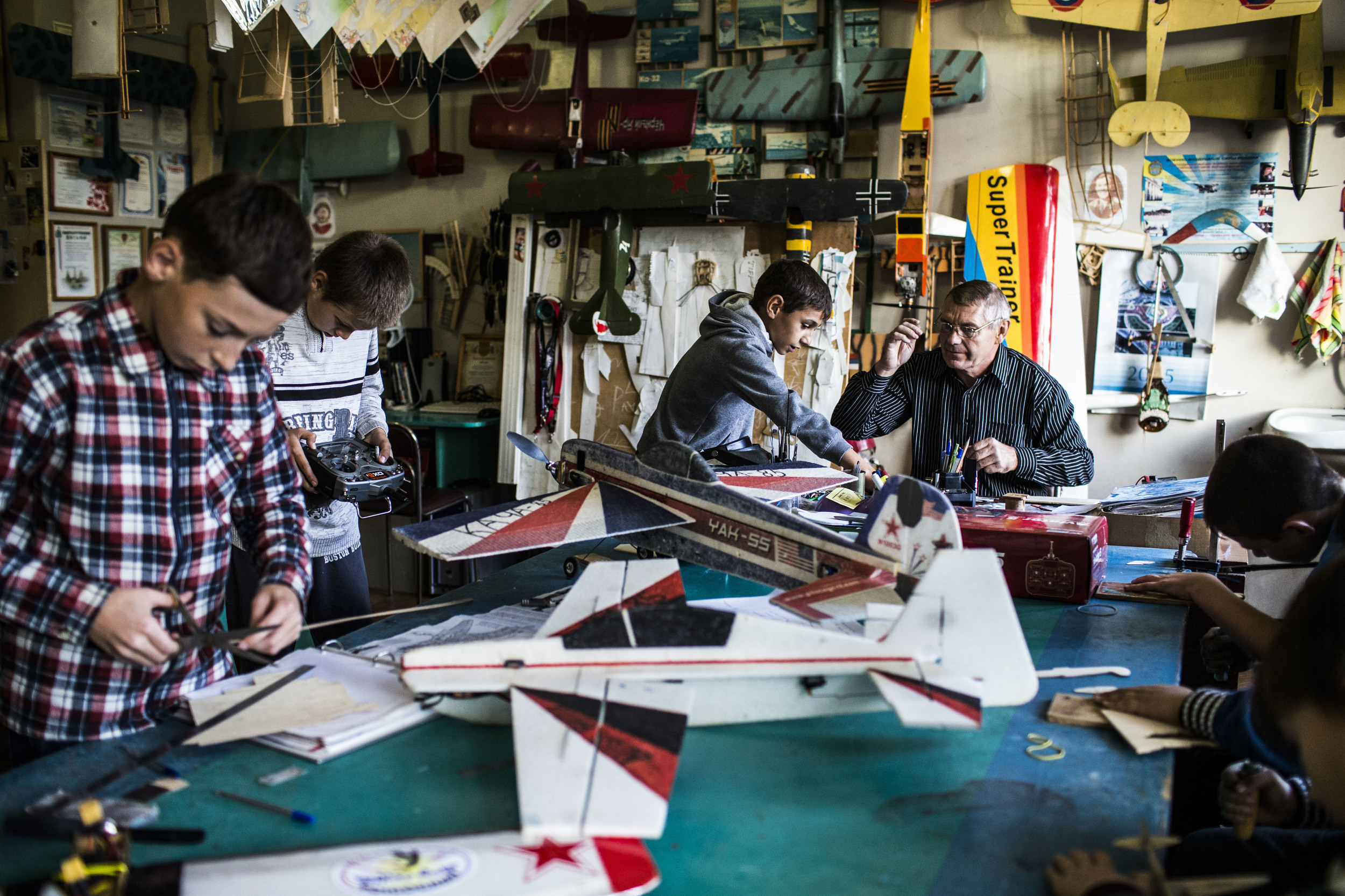 The village has one of the best youth aeromodeling groups on the Russian south. Some of its graduates are working as aviation engineers now. This year, one of them went to Voronezh to study for UAV operator. Group's head Mikhail Vitalyevich is on his position for 32 years since 1983.