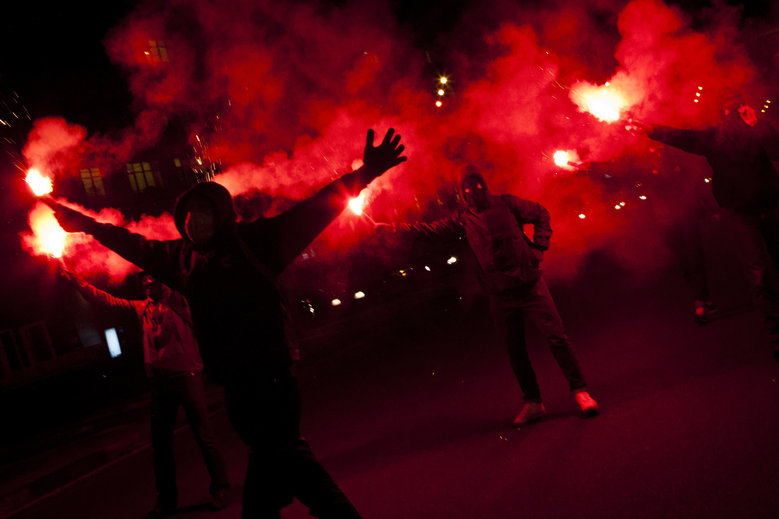 March 1, 2012 antifascists' protest with a Moscow street being blocked