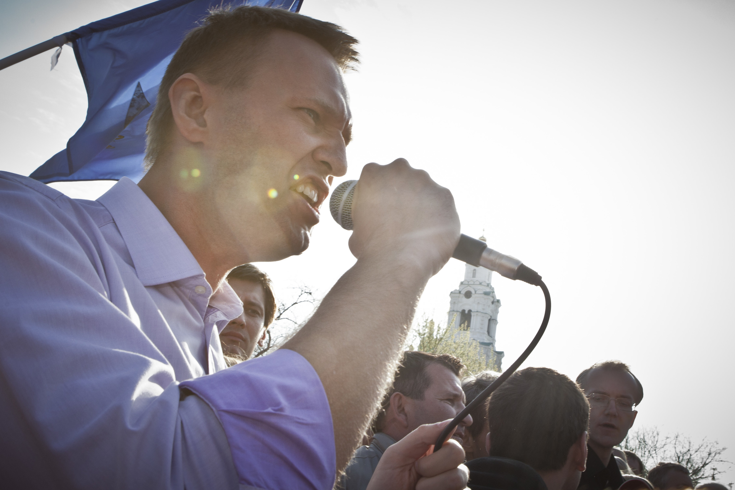 Alexey Navalny speaks at a rally in Astrakhan in support of Oleg Shein (on the background) who was claimimg he won mayoral election that were rigged in favor of his opponent. April 2012
