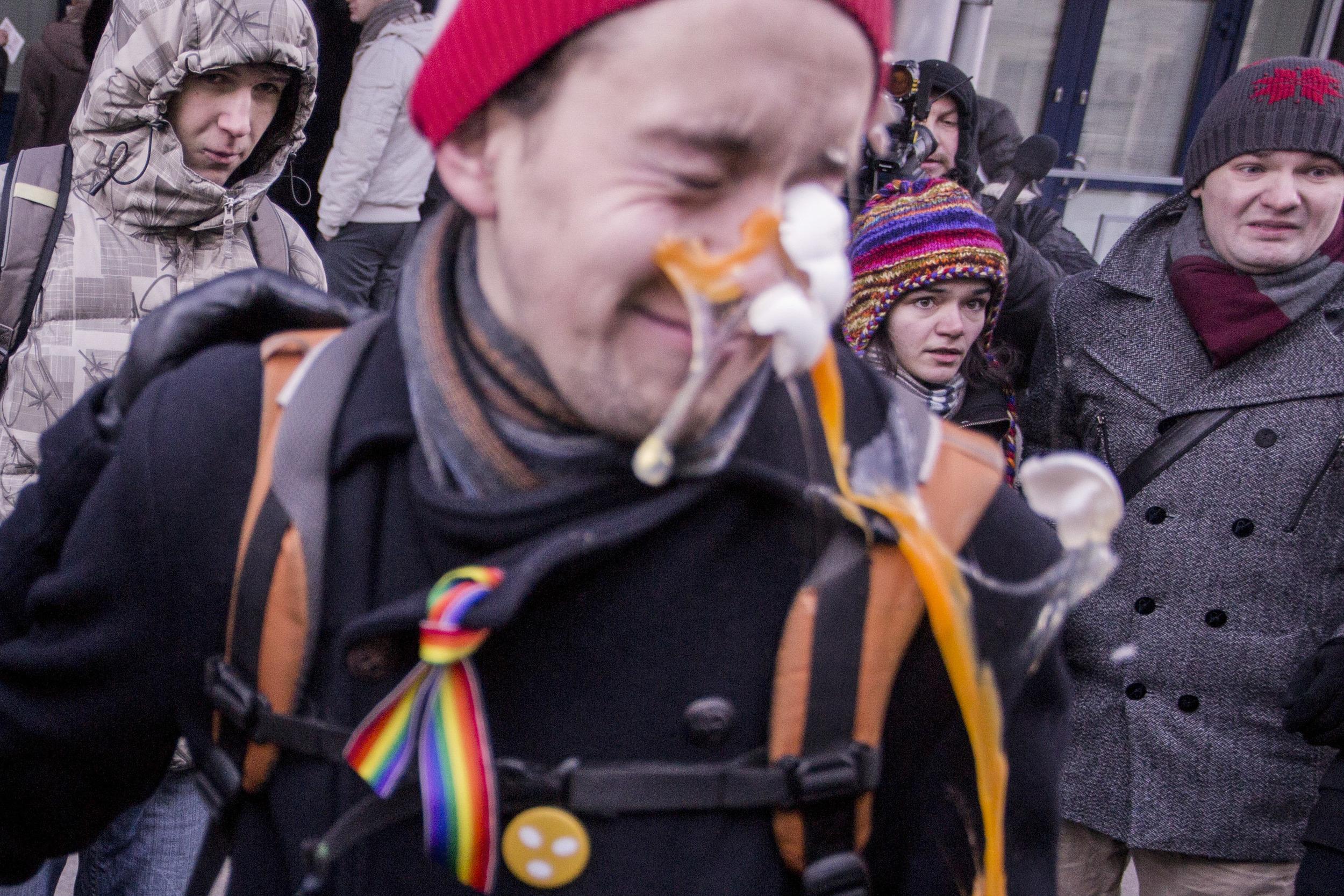 Russian LGBT protest a bill pronouncing 'gay propaganda' among youth anlawful. December 2012