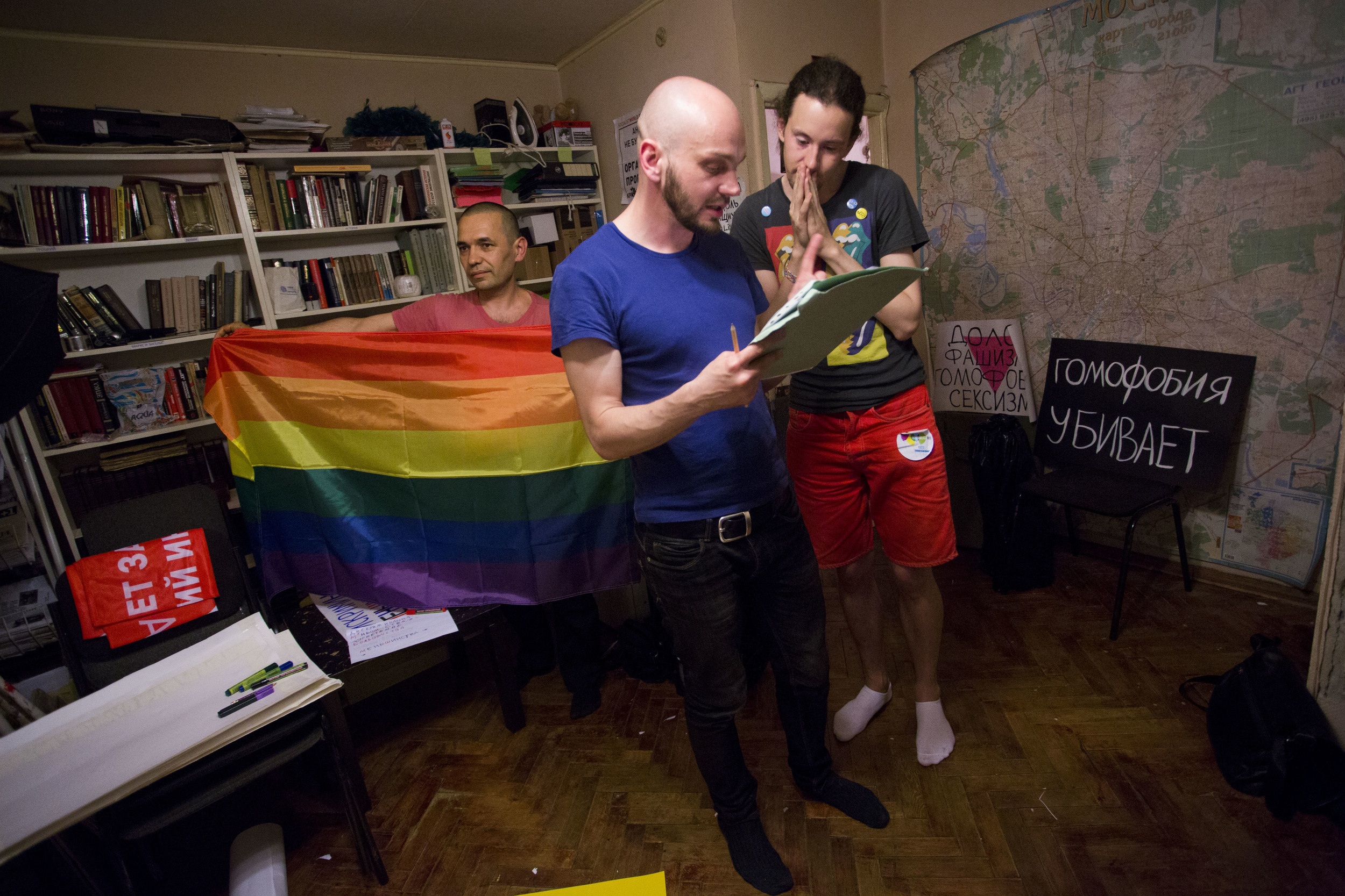Moscow LGBT activists prepare for an illegal gay pride. May 2013