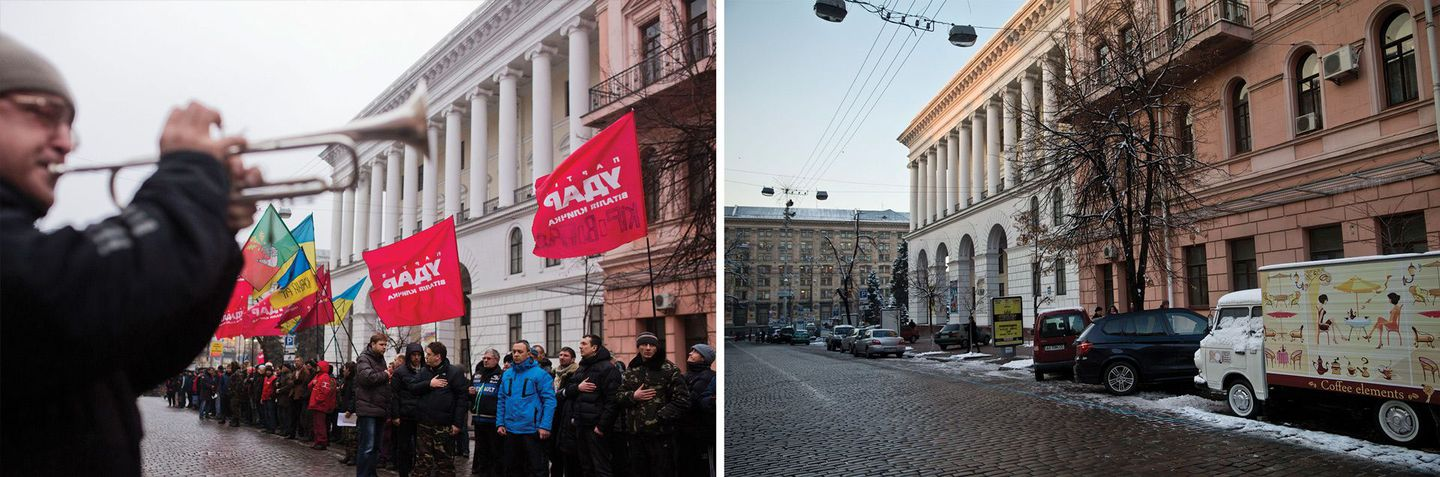 "(Left) Activists gather at Horodetskoho Street in central Kiev one morning last winter during a shift change after patrolling the streets around the Euromaidan camp overnight. A man plays the national anthem ""Ukraine is Not Dead Yet"" on the trumpet as men and women sing.  (Right) Today, a relative calm has descended on the city, though men in camouflage uniforms can often be seen here as soldiers return from the front lines of eastern Ukraine, where the fight against Moscow-backed rebels continues."