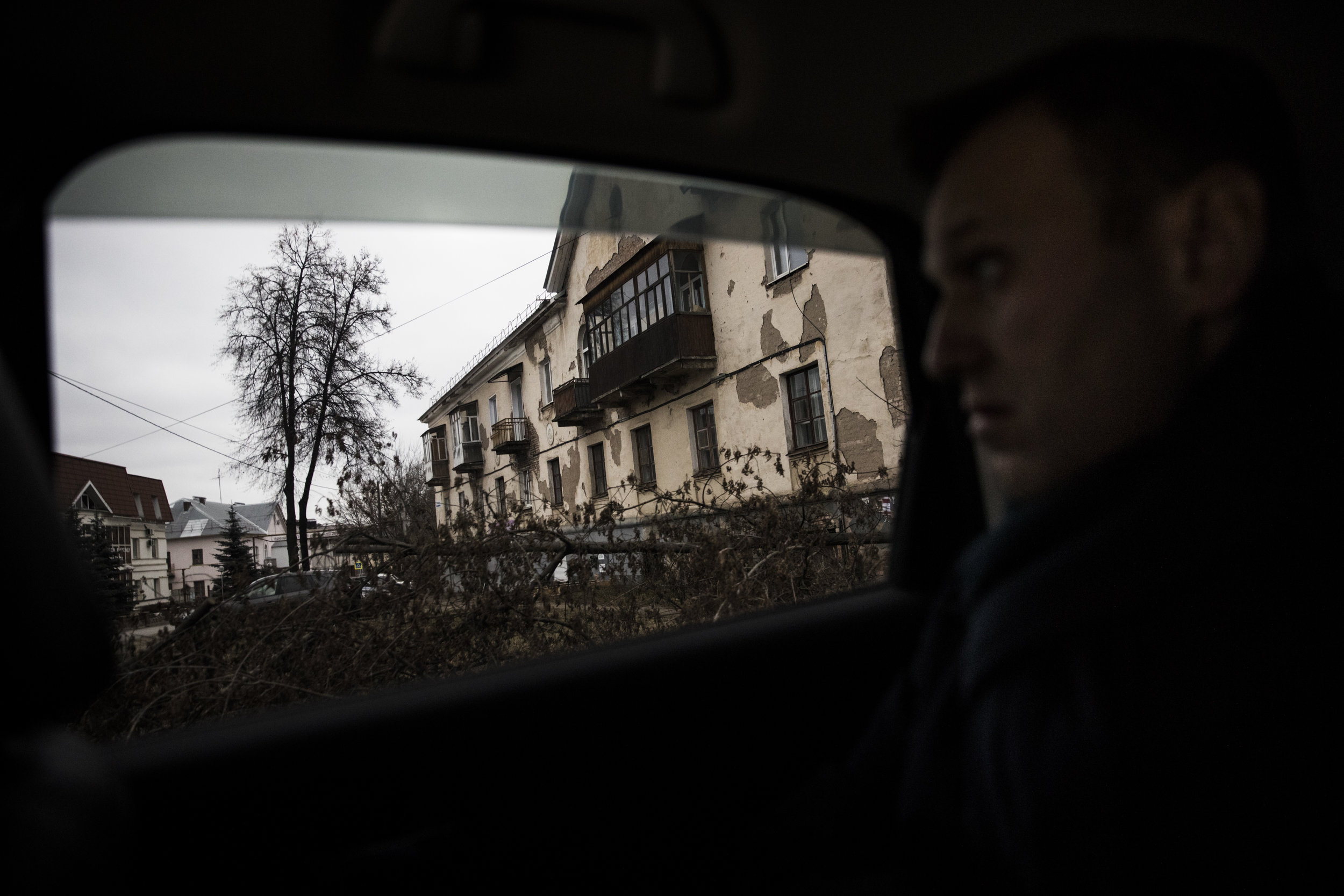Alexey Navalny on a campaign trail is driven through crumbling suburbs of Izhevsk, a city of 646,000 citizens