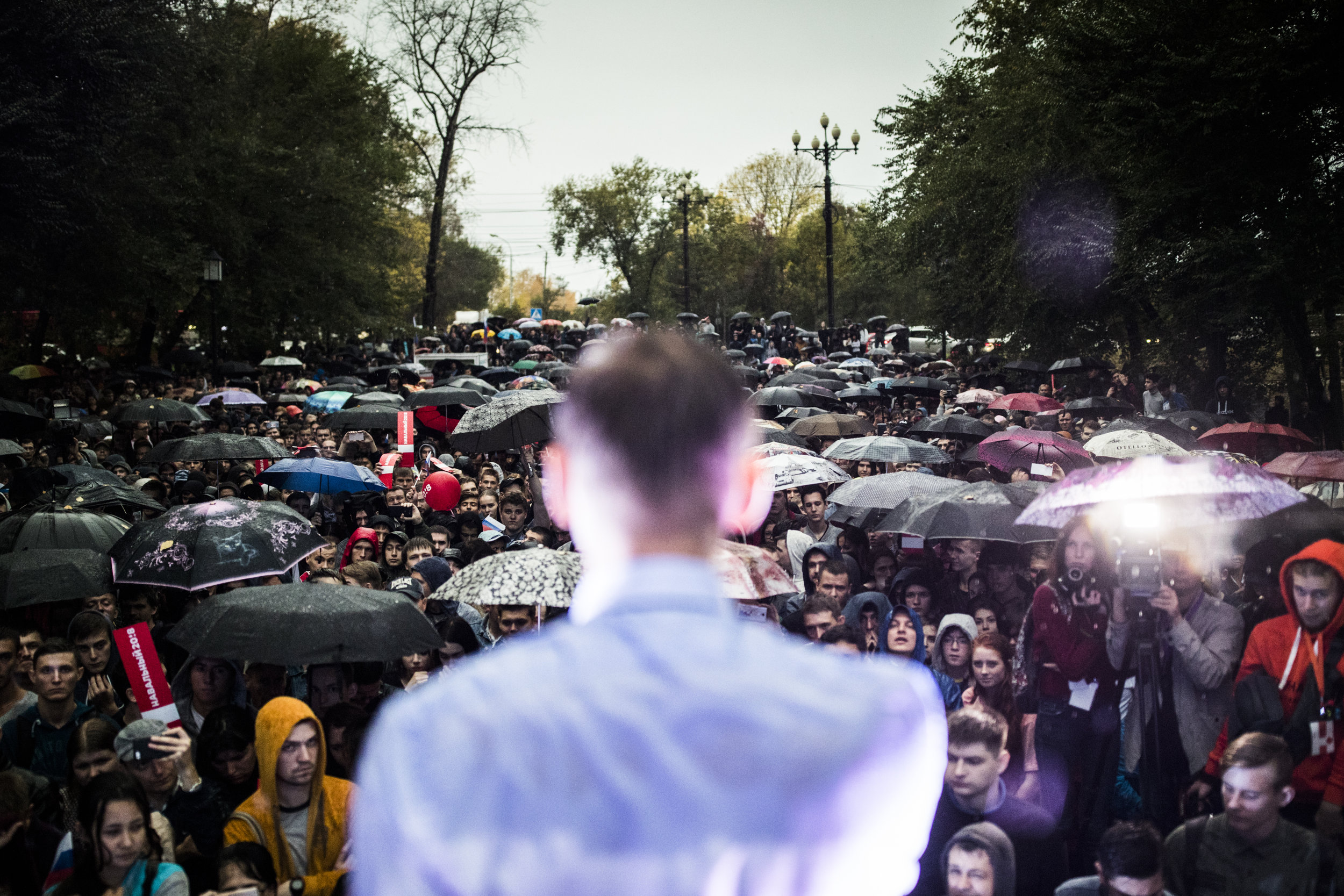 Alexey Navalny speaks at his campaign rally in Khabarovsk, a city on Russian Far East of approximately 600,000