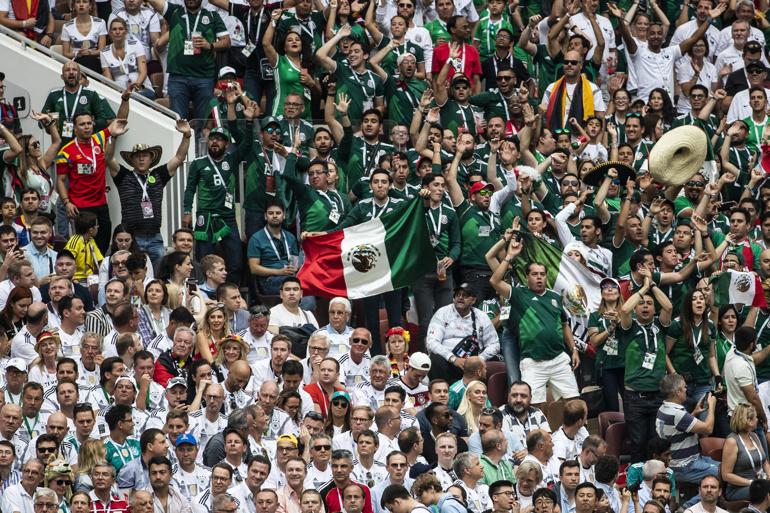 German and Mexican fans are seen during their teams' game in Moscow
