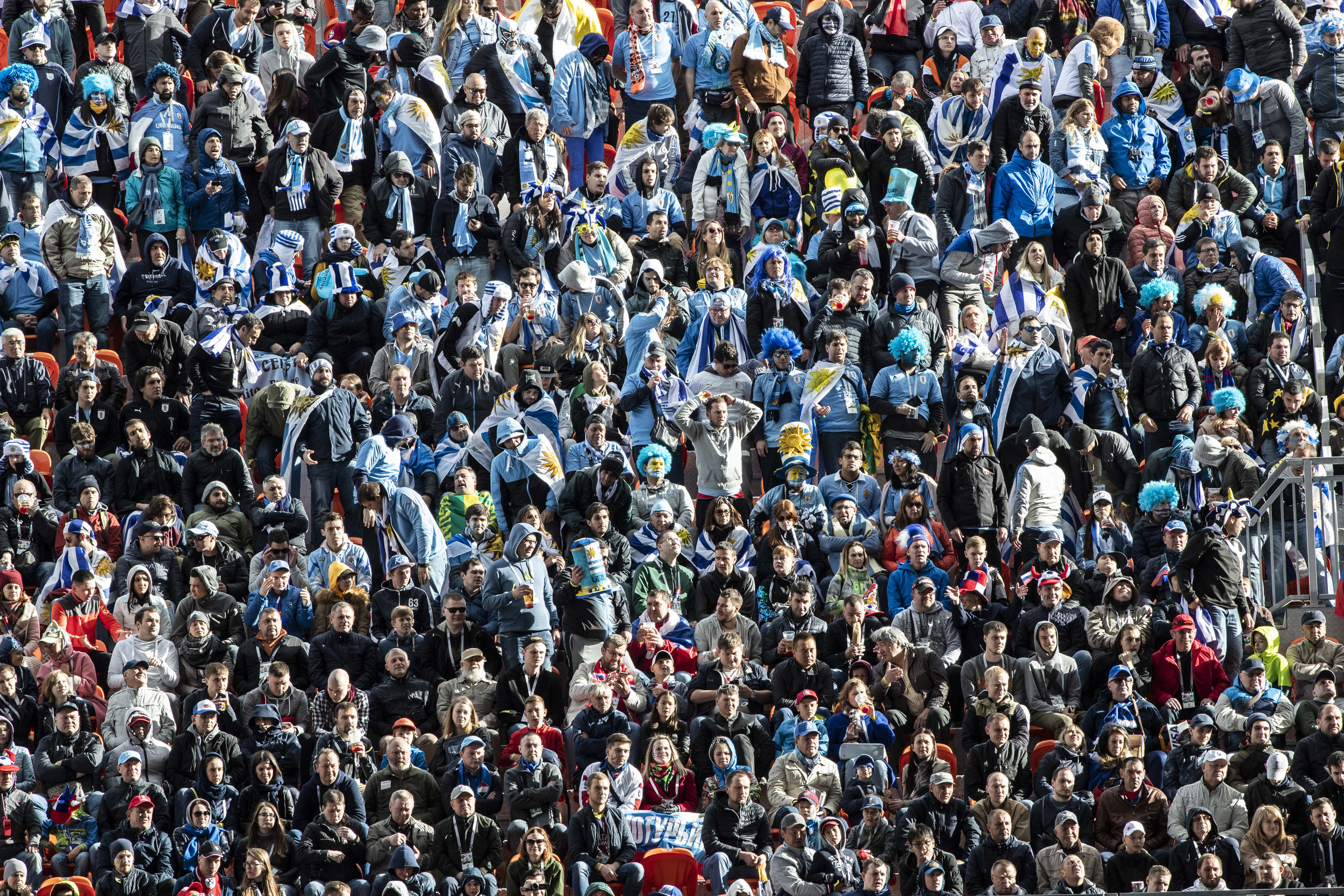 Uruguayan fans react as their team misses another attempt on Egypt team's goal
