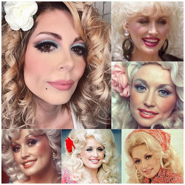 Watched @dumplin.movie & got inspired by all things @dollyparton ! . I wish I had a wig but I tried to make do....(top left). . Odd fact....I wanted @dollyparton to be my mom when I was little. I thought she & Gloria Copeland were the 2 most glamorous women I'd ever seen (and they were blond). . I've had the honor of doing makeup for Mrs. Copeland for the last 6 years...bucket list is absolutely @dollyparton 😍 . . Go watch @dumplin.movie...you'll laugh and cry! I adore it! . . .  #mua #makeupartist #makeup #promua #dfwmua #promakeupartist #dfwmakeupartist #dumplinmovie #glam #beauty #heatherspiveymua #dollyparton #nofilterjustacraptonofmakeup