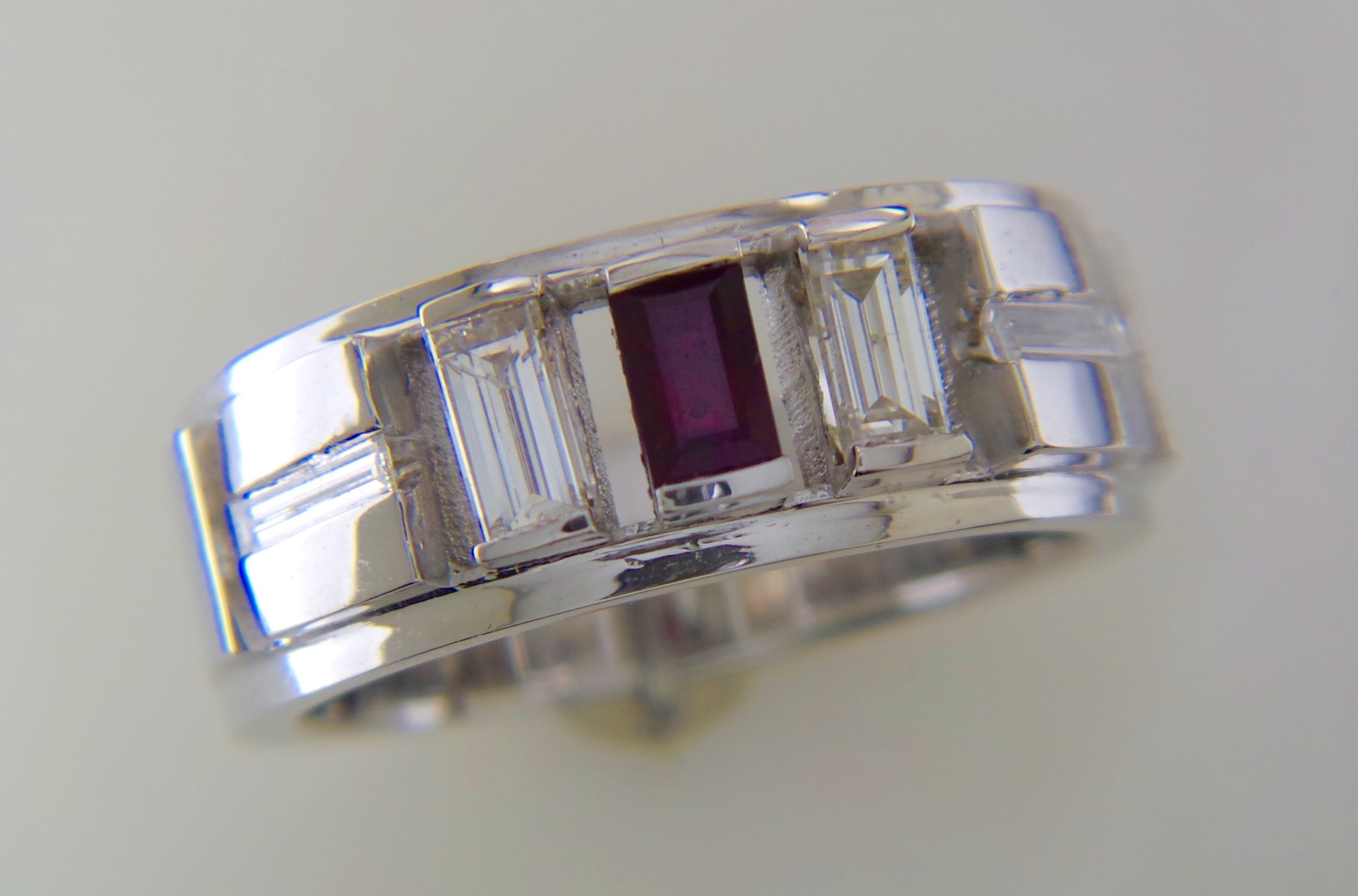 Men's ruby and diamond ring