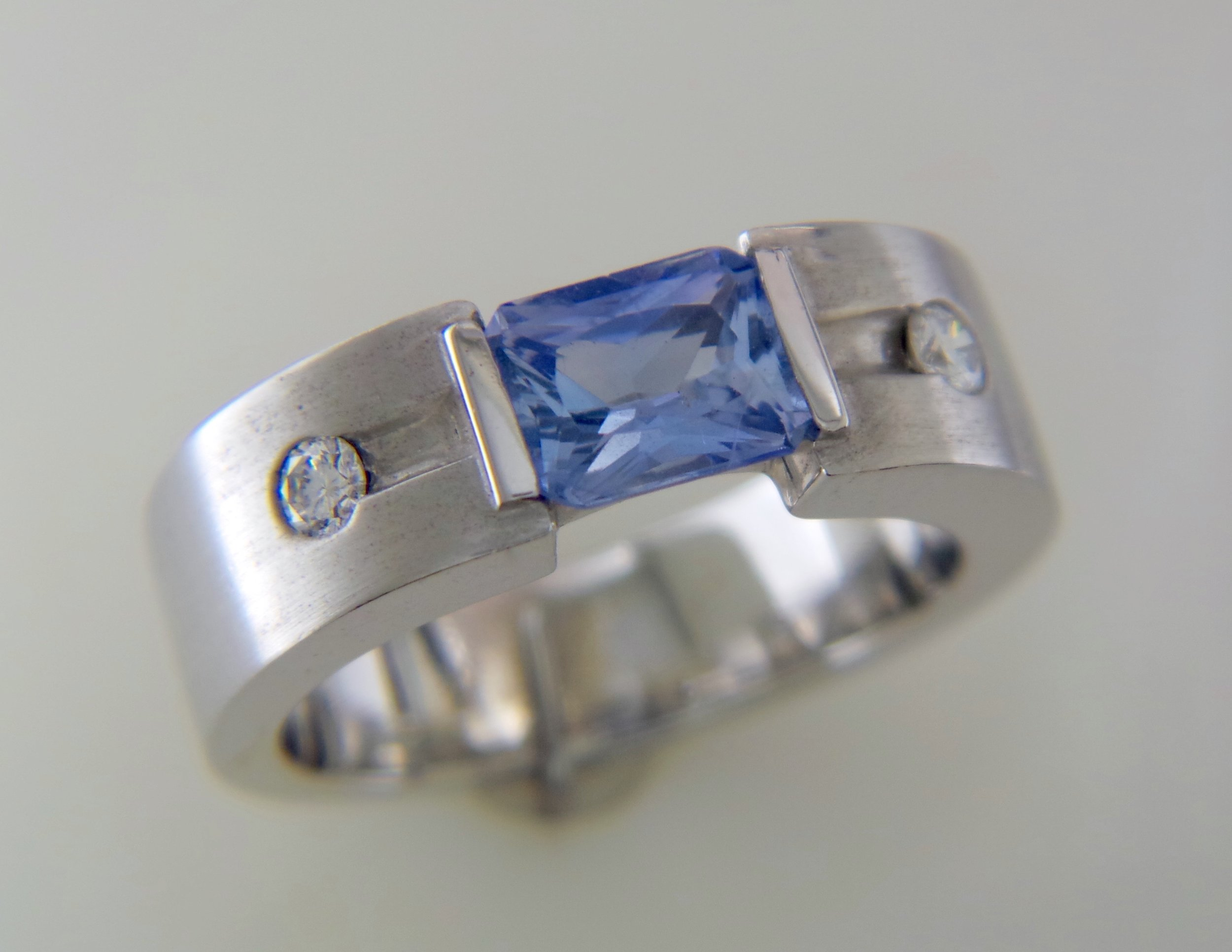 Men's sapphire and diamond band