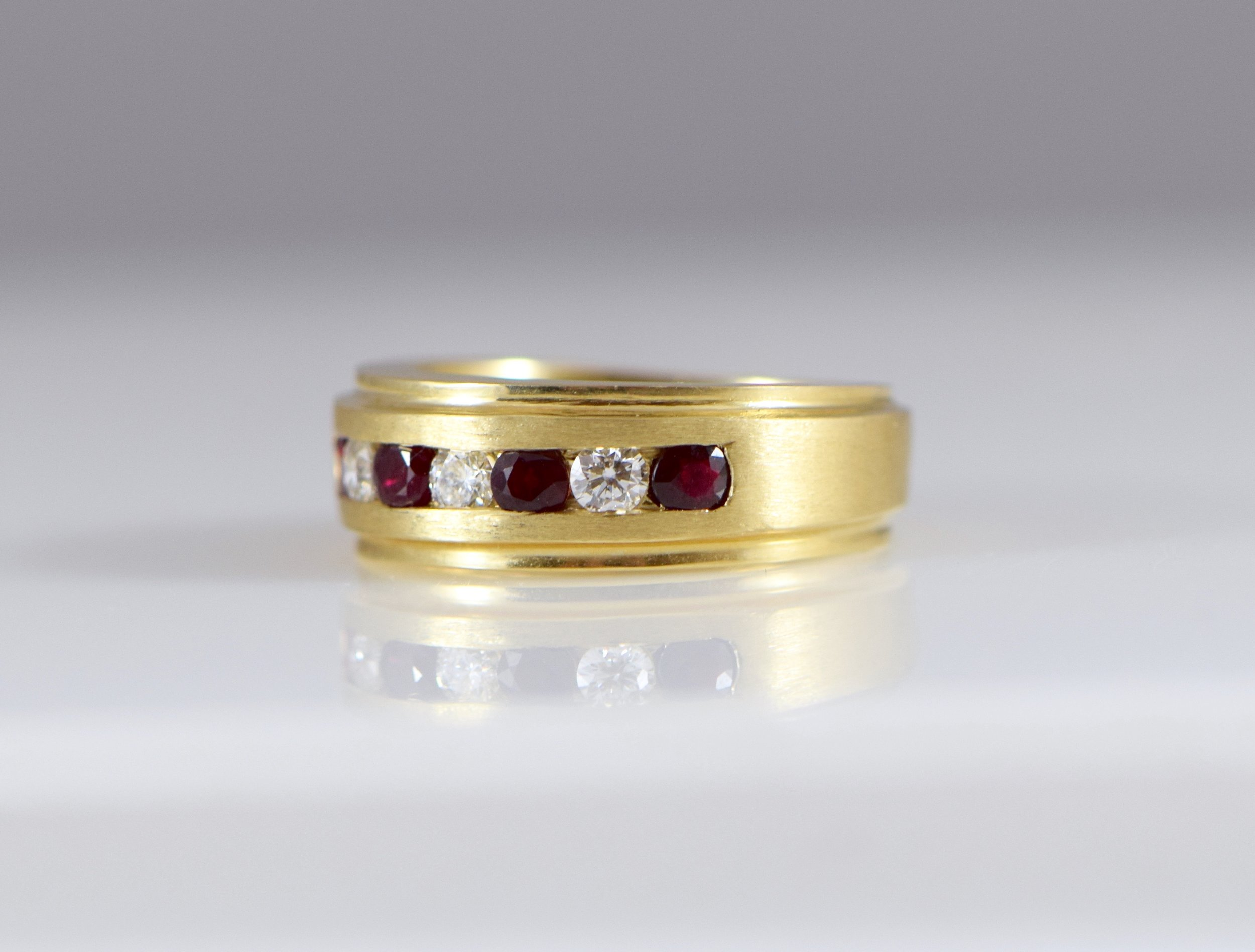Men's ruby and diamond band