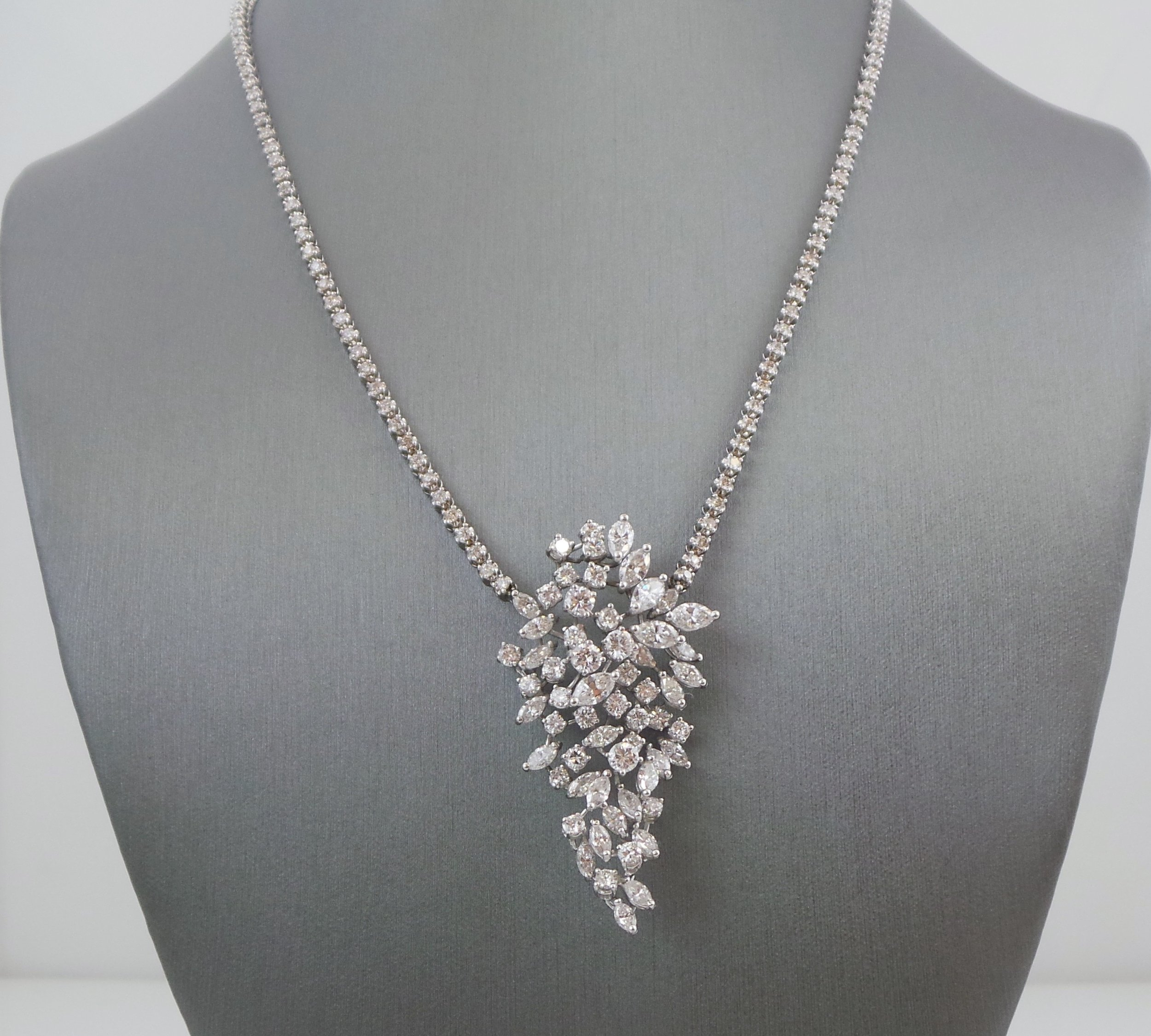 Diamond cluster statement necklace