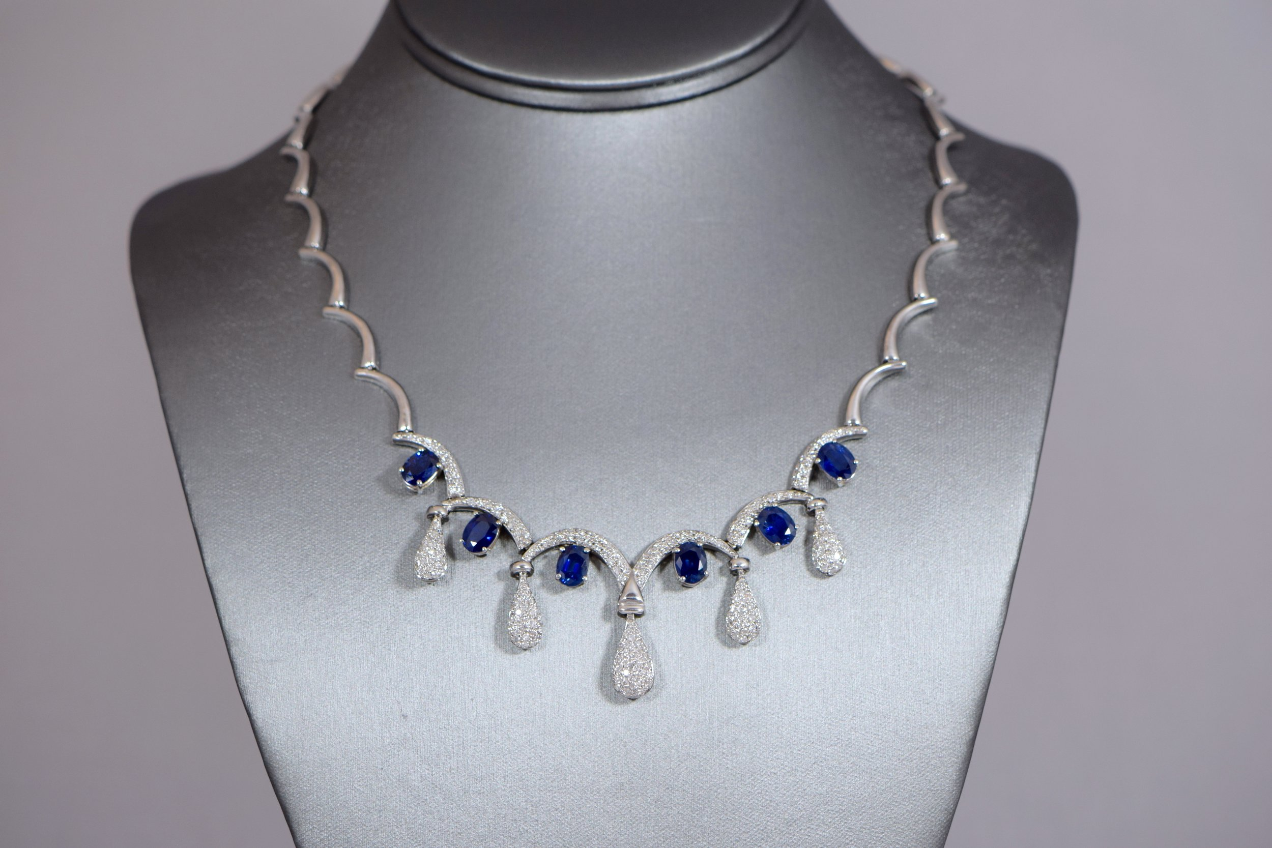 Sapphire and diamond statement necklace