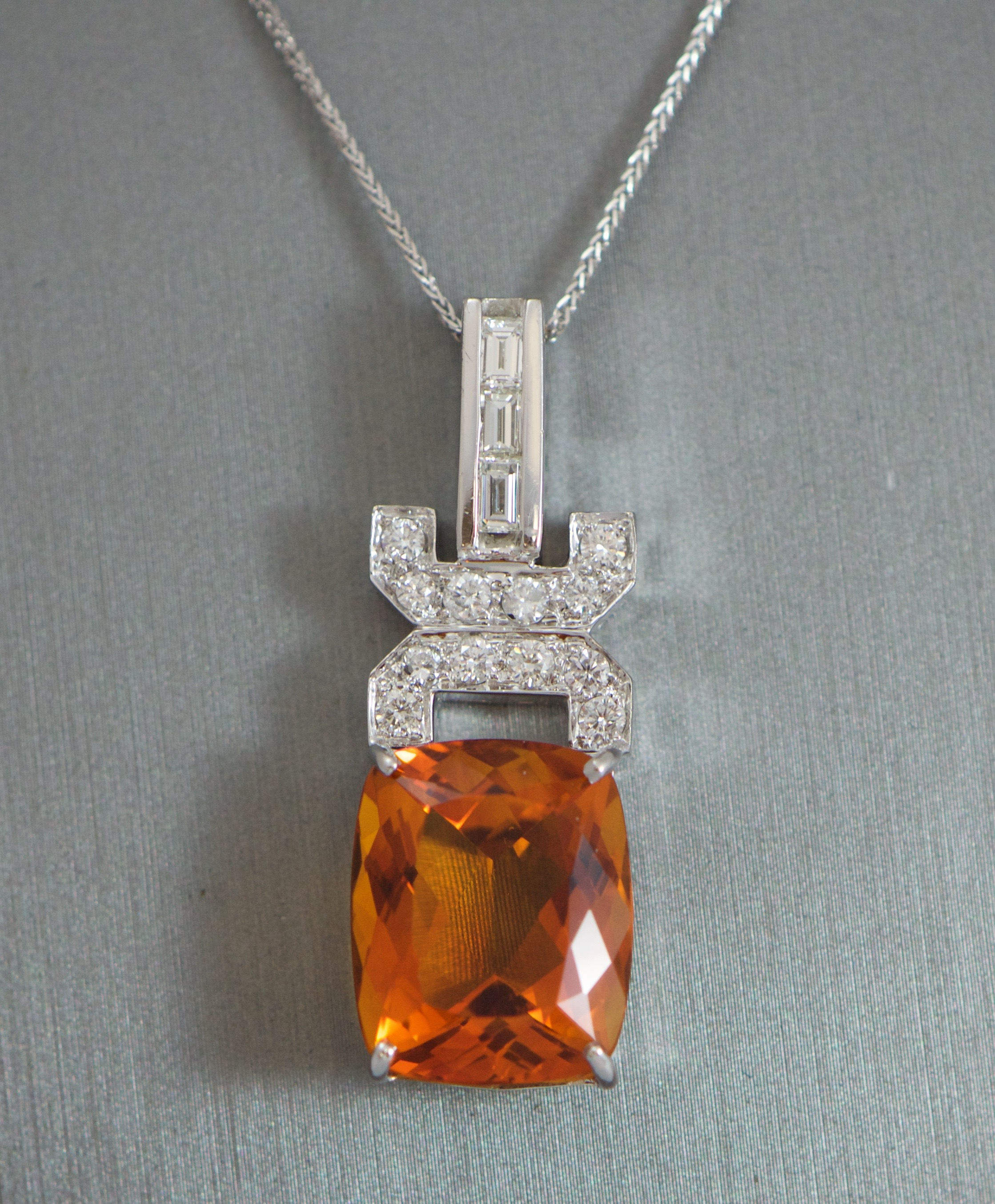 Citrine Art deco style diamond pendant