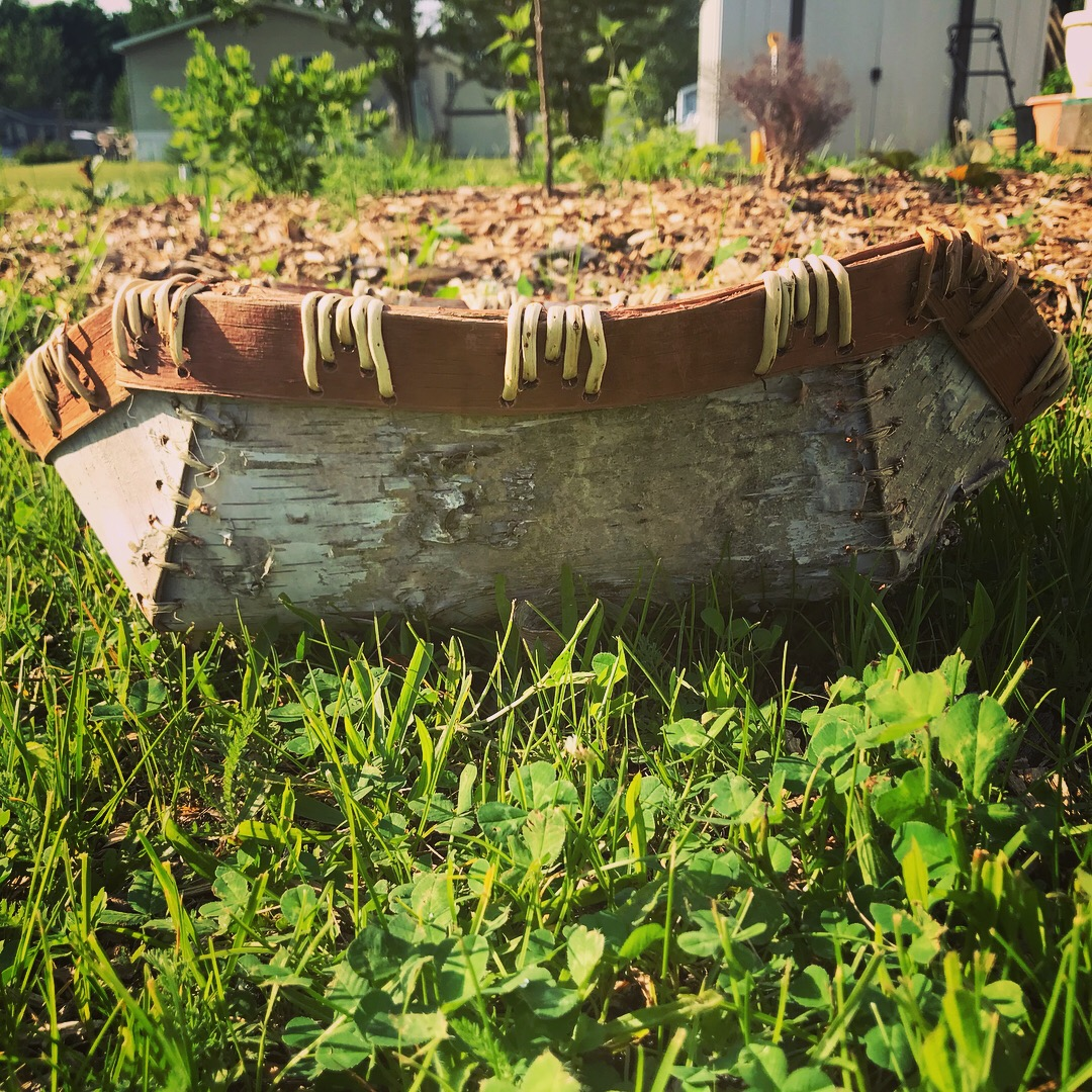 This is a sustainably harvested birch bark basket. Created by yours truly.