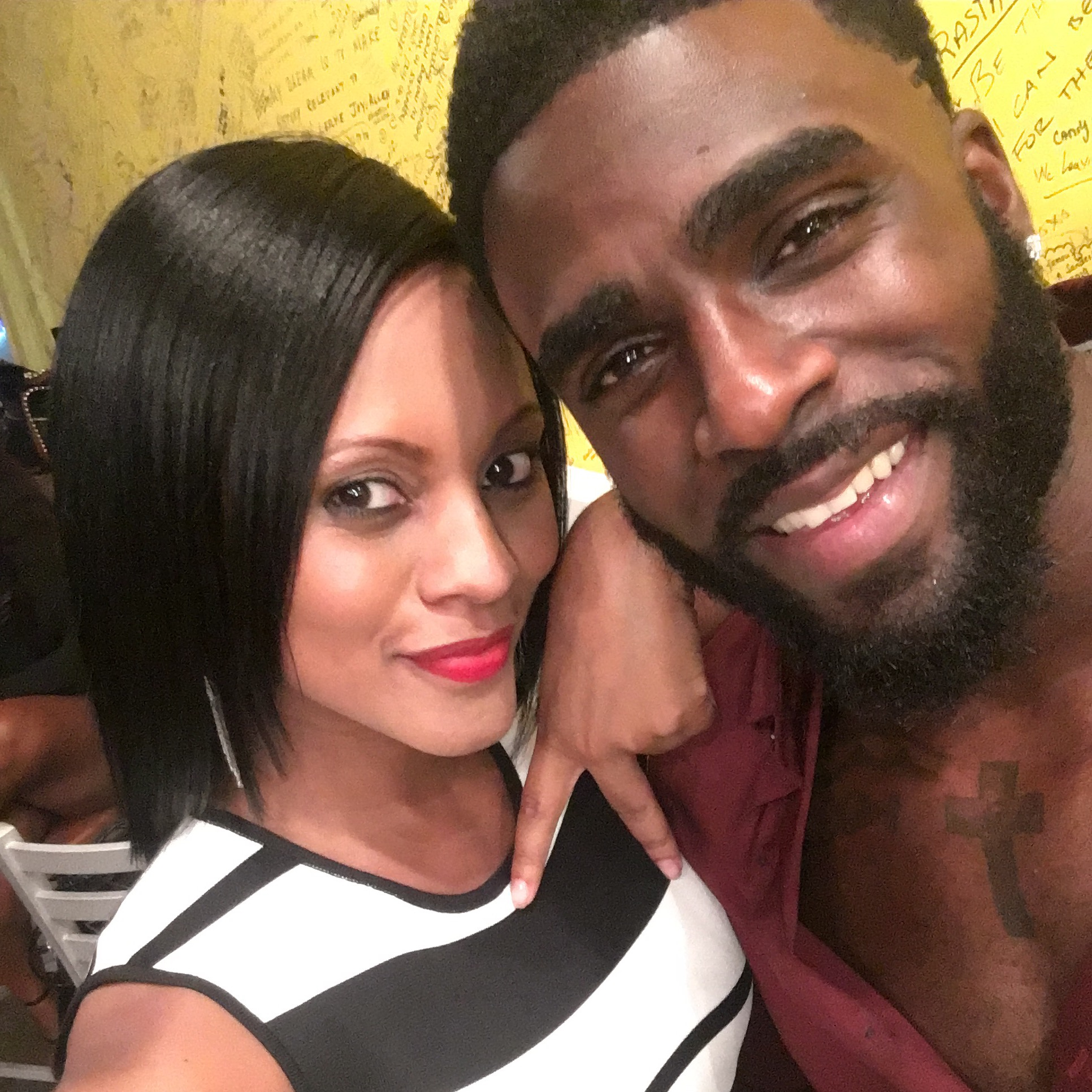 Host Maria Wills and model Travis Cure