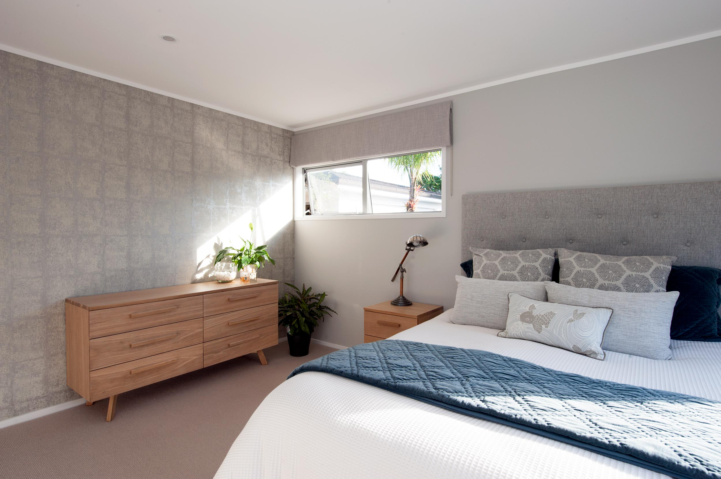 Kirsten Ford Design renovation red beach bedroom